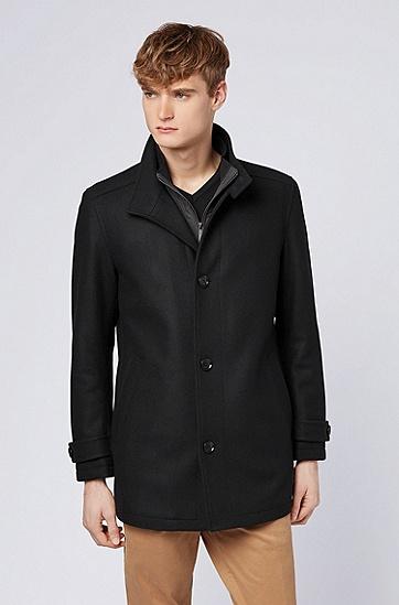 男款混合羊毛常规版型大衣,  001_黑色