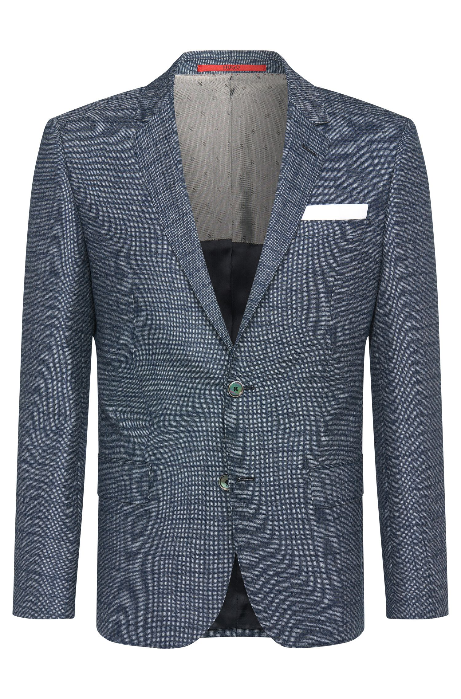 Slim-fit jacket in new wool with pocket square: 'C-Hutsons1'