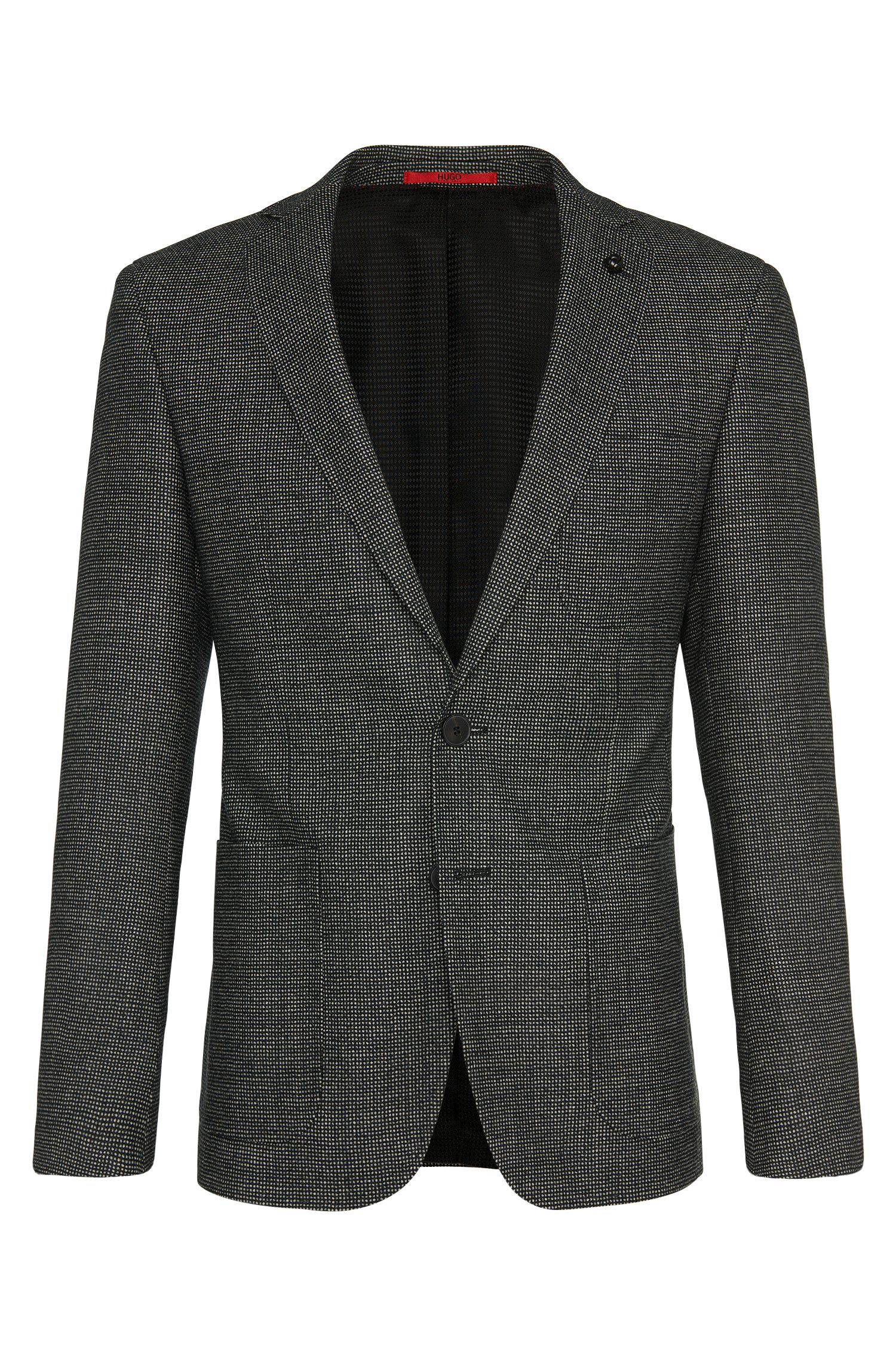 Finely checked extra-slim fit jacket in new wool: 'C-Raye1'