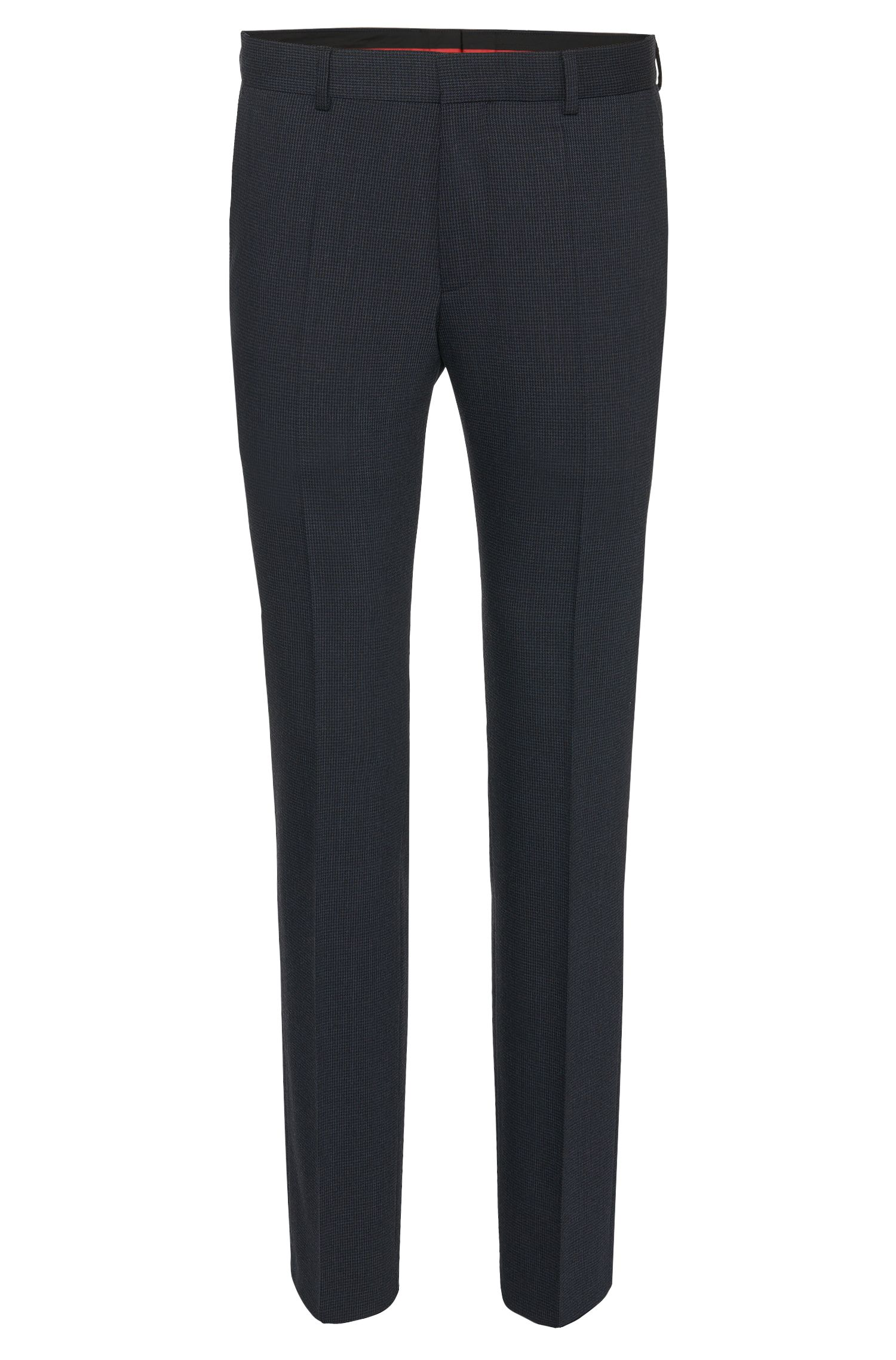 Slim-fit trousers in stretchy wool blend with a fine pattern: 'C-Genesis'