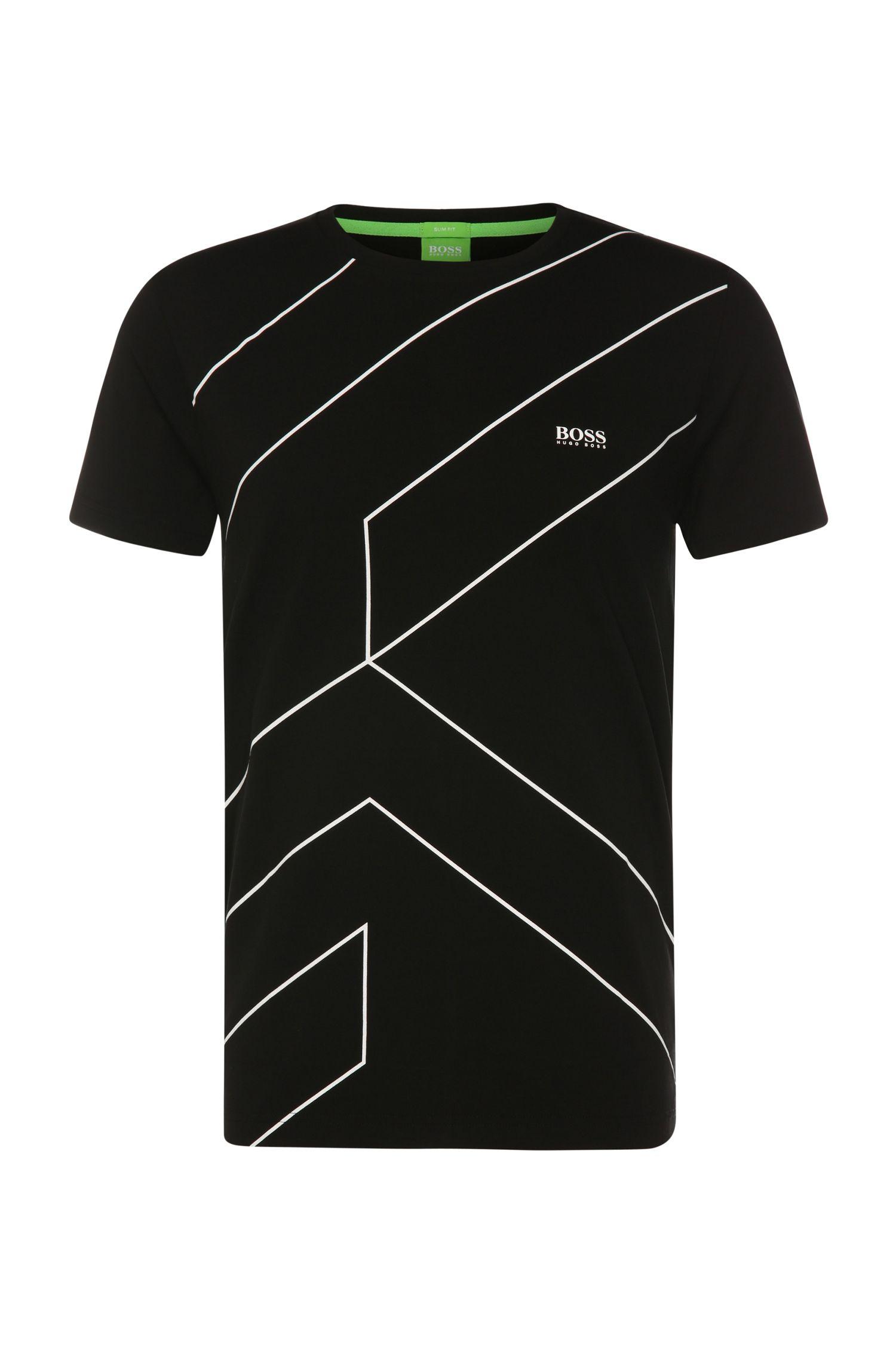 T-shirt Slim Fit en coton mélangé extensible: «Teecell»