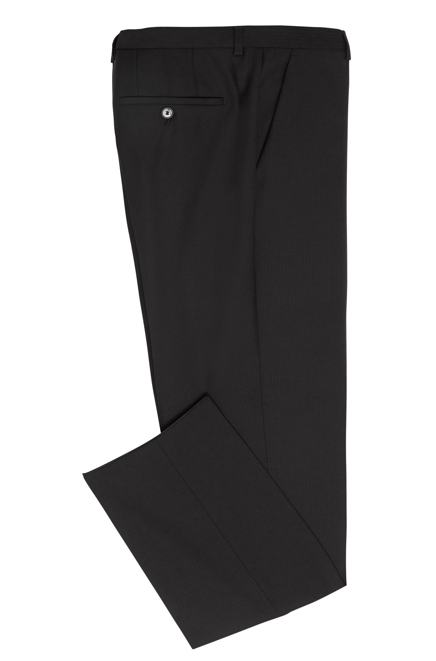 Regular-fit broek van scheerwol met visgraatpatroon: 'C-Shark1'