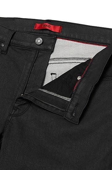 Unifarbene Skinny-Fit Jeans aus Jersey-Denim: 'HUGO 734', Schwarz