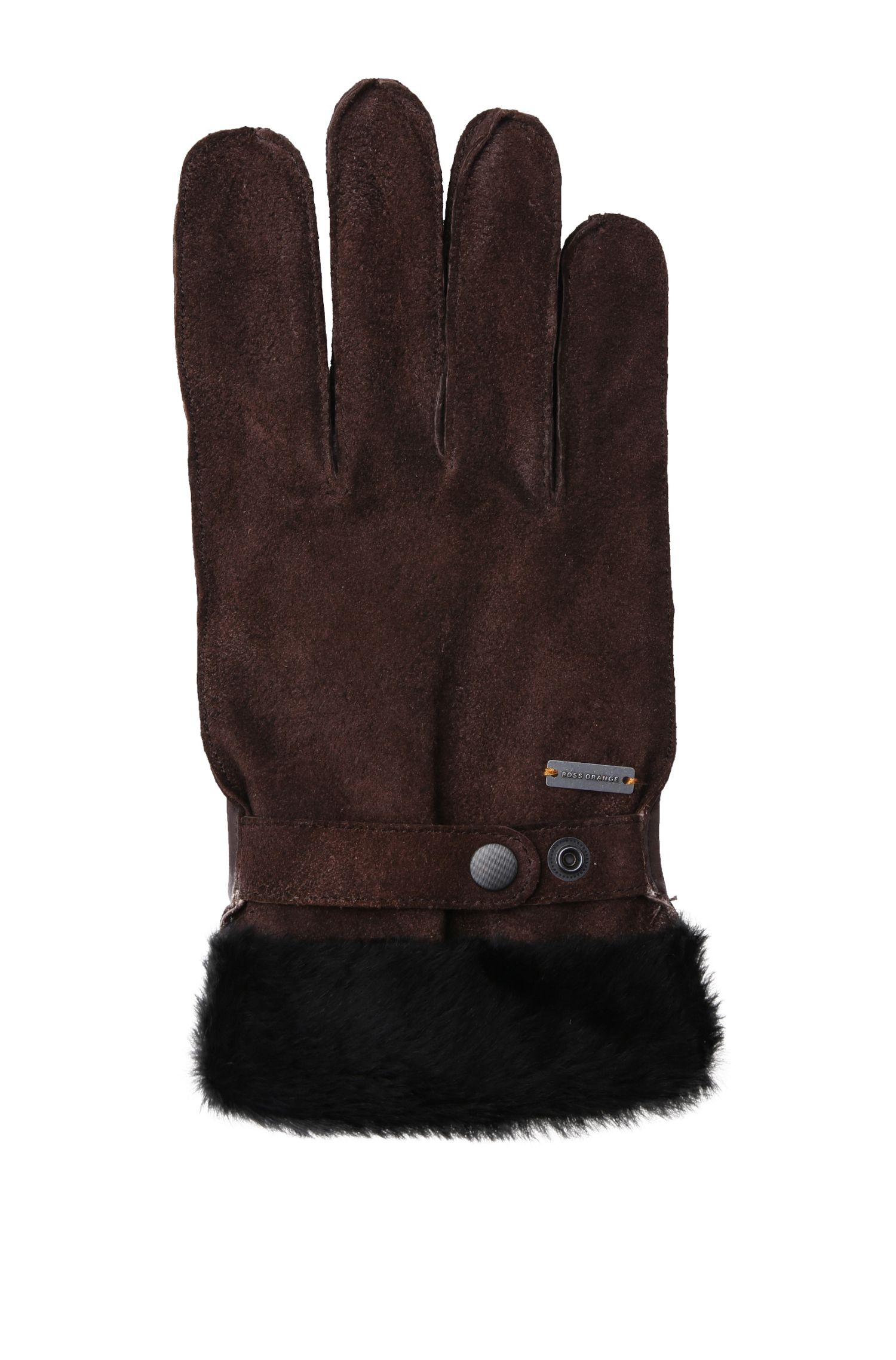 Leather gloves with lambskin trim: 'Gallet-TT'