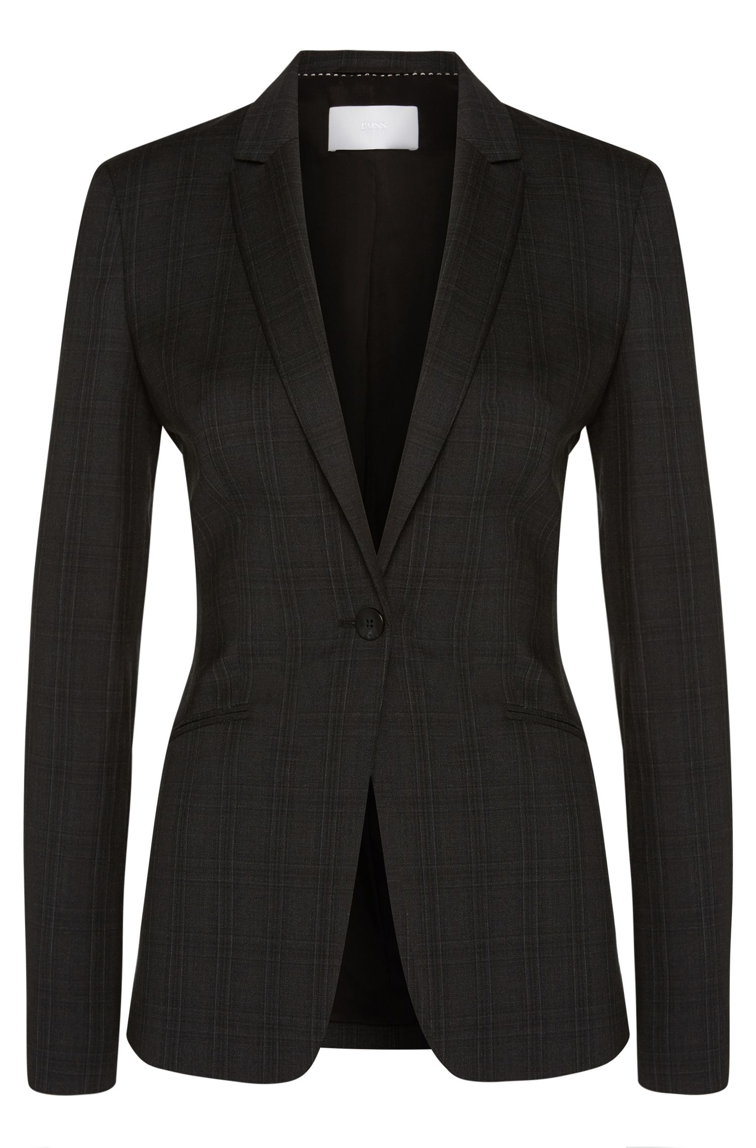 Blazer in new-wool blend with subtle tartan pattern: 'Jabina2'