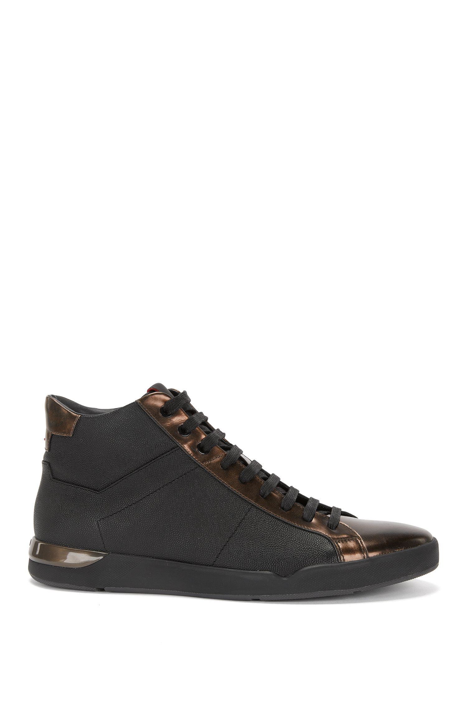 High-top leather trainers with metallic-look detailing: 'Fusion_Midc_mtpr'