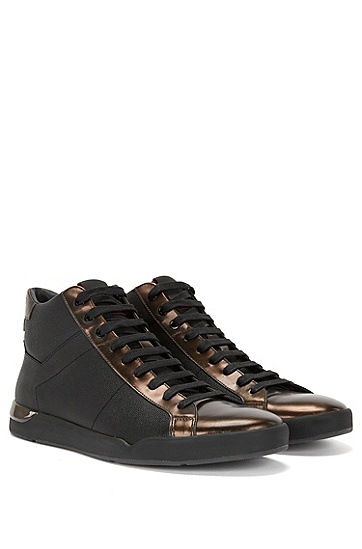 High Top Sneakers aus Leder mit Details in Metallic-Optik: 'Fusion_Midc_mtpr', Schwarz