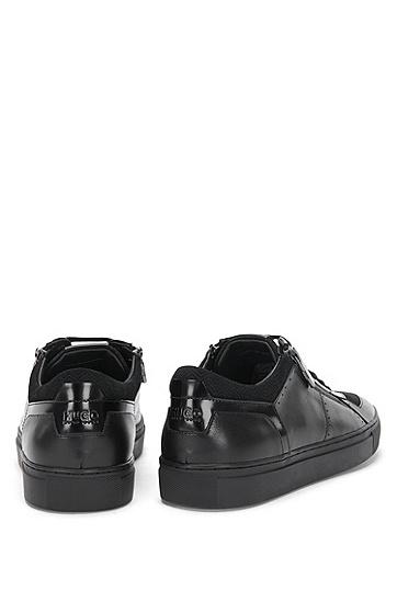 Sneakers aus Leder mit Zickzack-Muster: 'Futurism_Tenn_ltzp', Schwarz