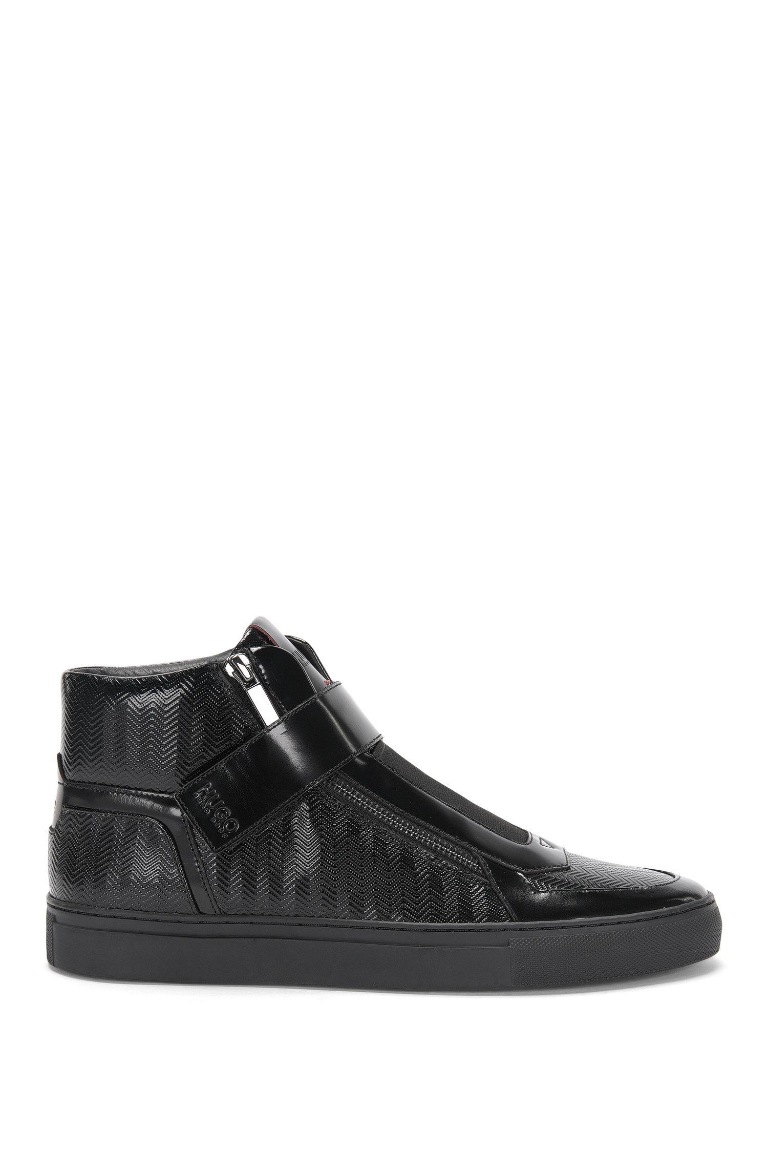Hightop-Sneakers aus Leder mit Zickzack-Struktur: 'Futurism_Midc_mtpr'
