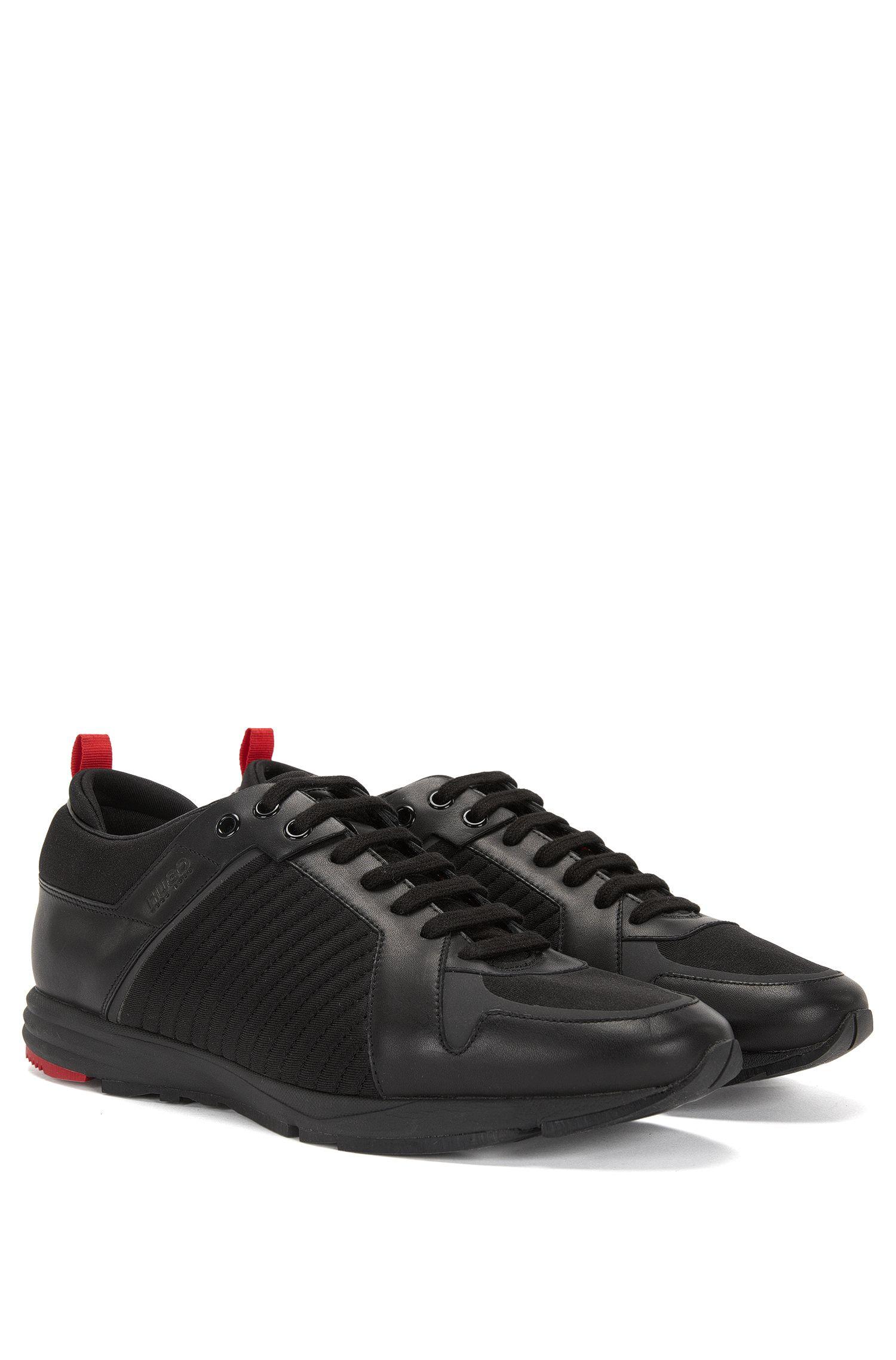 Sneakers van leer en textiel met lichte vibram-loopzool: 'Hybrid_Runn_mxma'