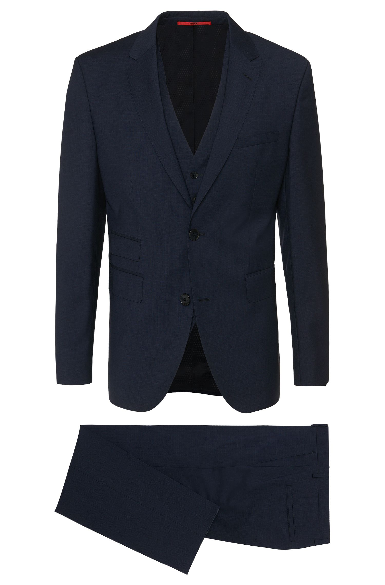 Subtly striped regular-fit suit in new wool with waistcoat: 'C-Jim/C-Simmons/C-WE'