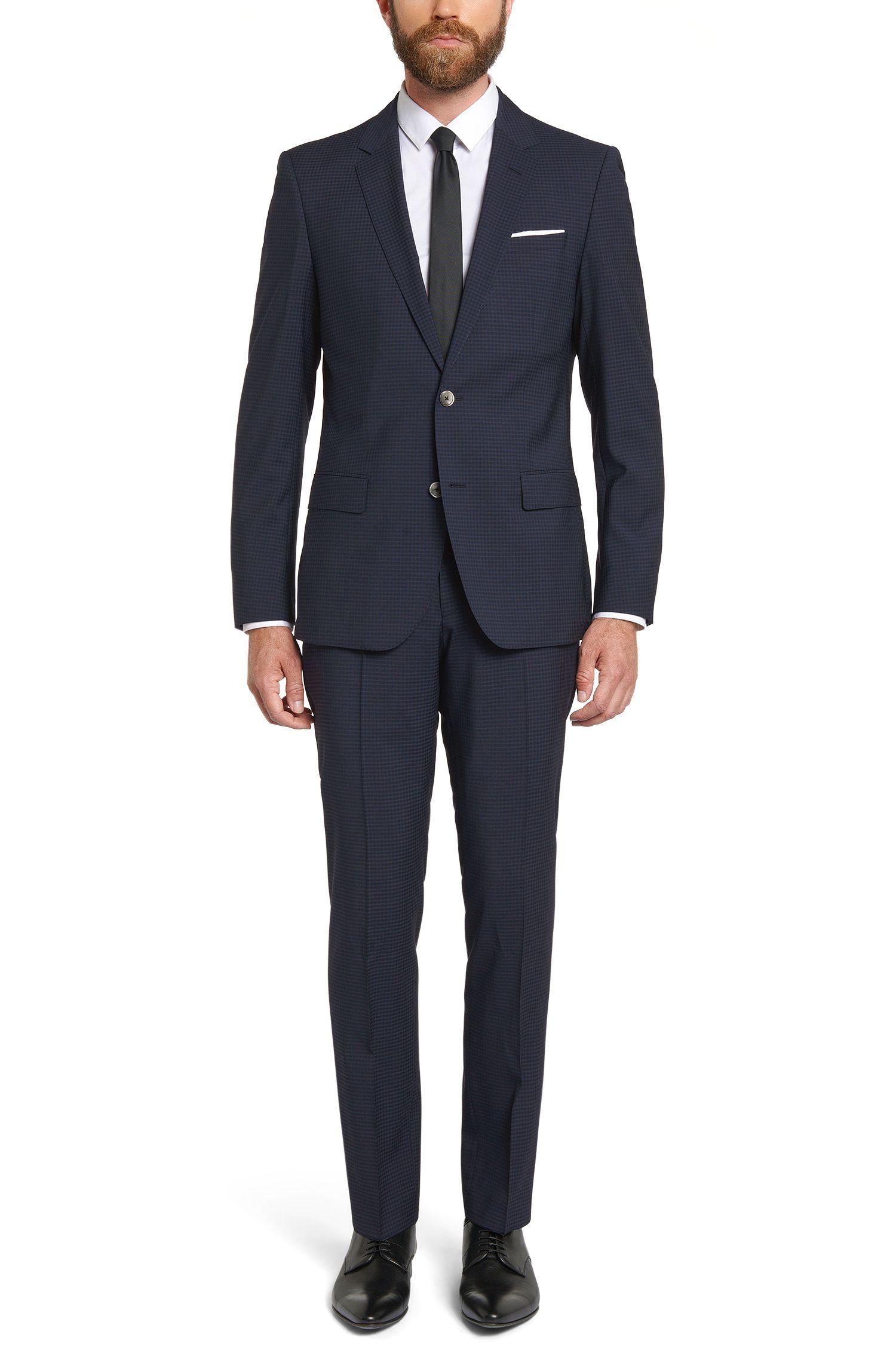 Karierter Slim-Fit Anzug aus Schurwolle mit Einstecktuch: 'C-Hutson1/C-Gander'