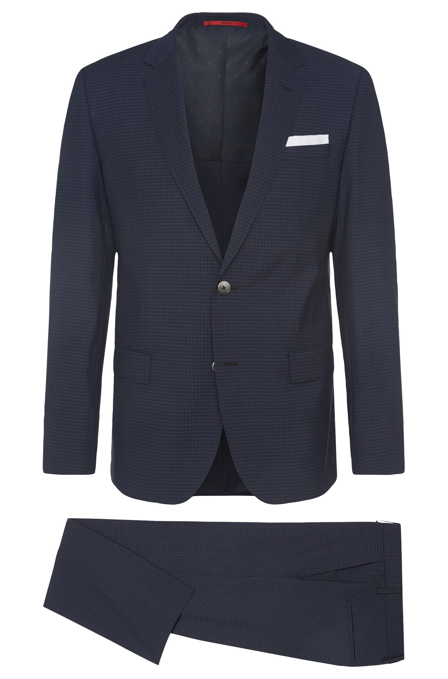 Checked slim-fit suit in new wool with pocket square: 'C-Hutson1/C-Gander'