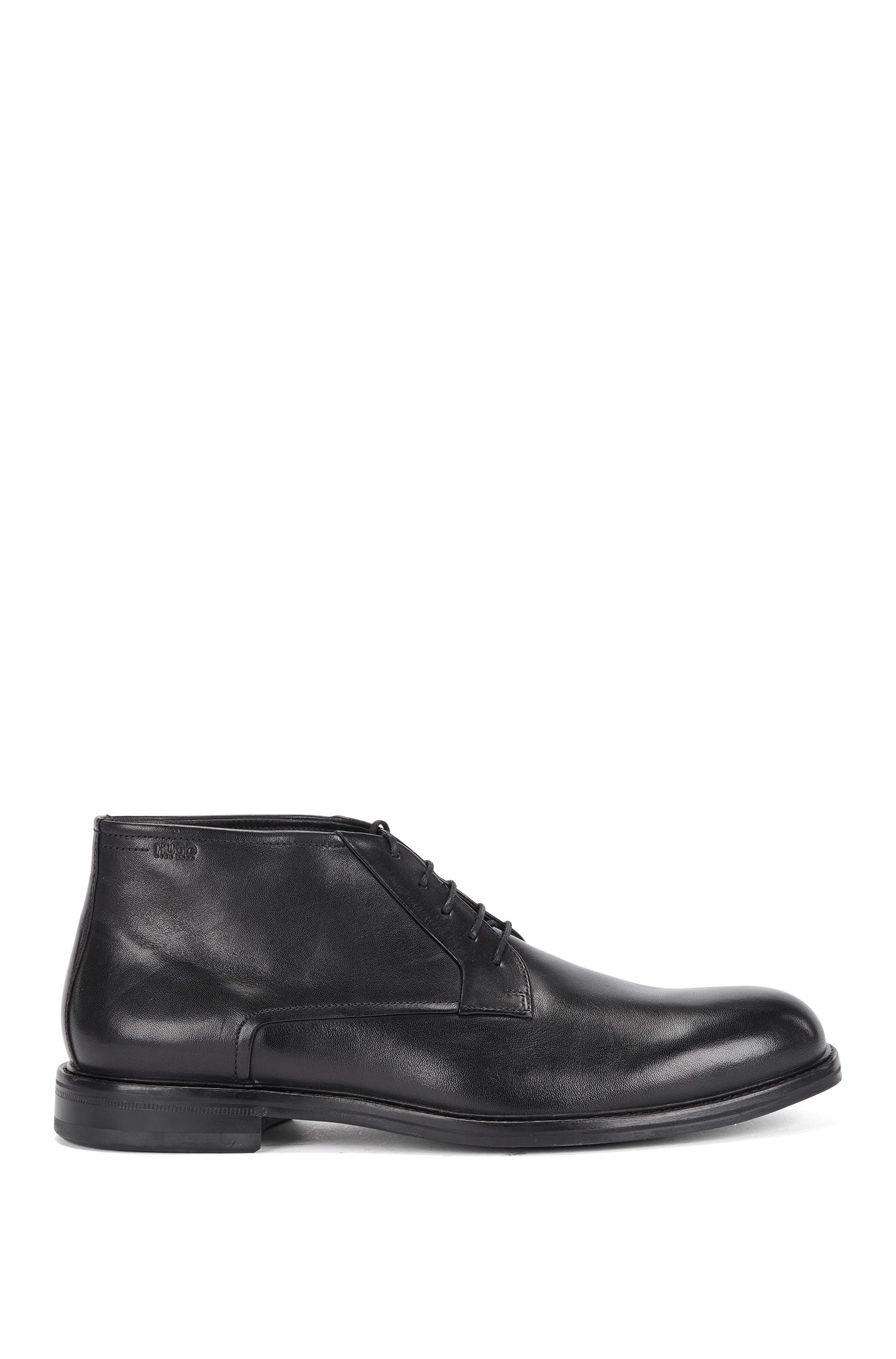 Ankle-high lace-up shoes made from smooth leather in desert boot style: 'Neoclass_Desb_bu'
