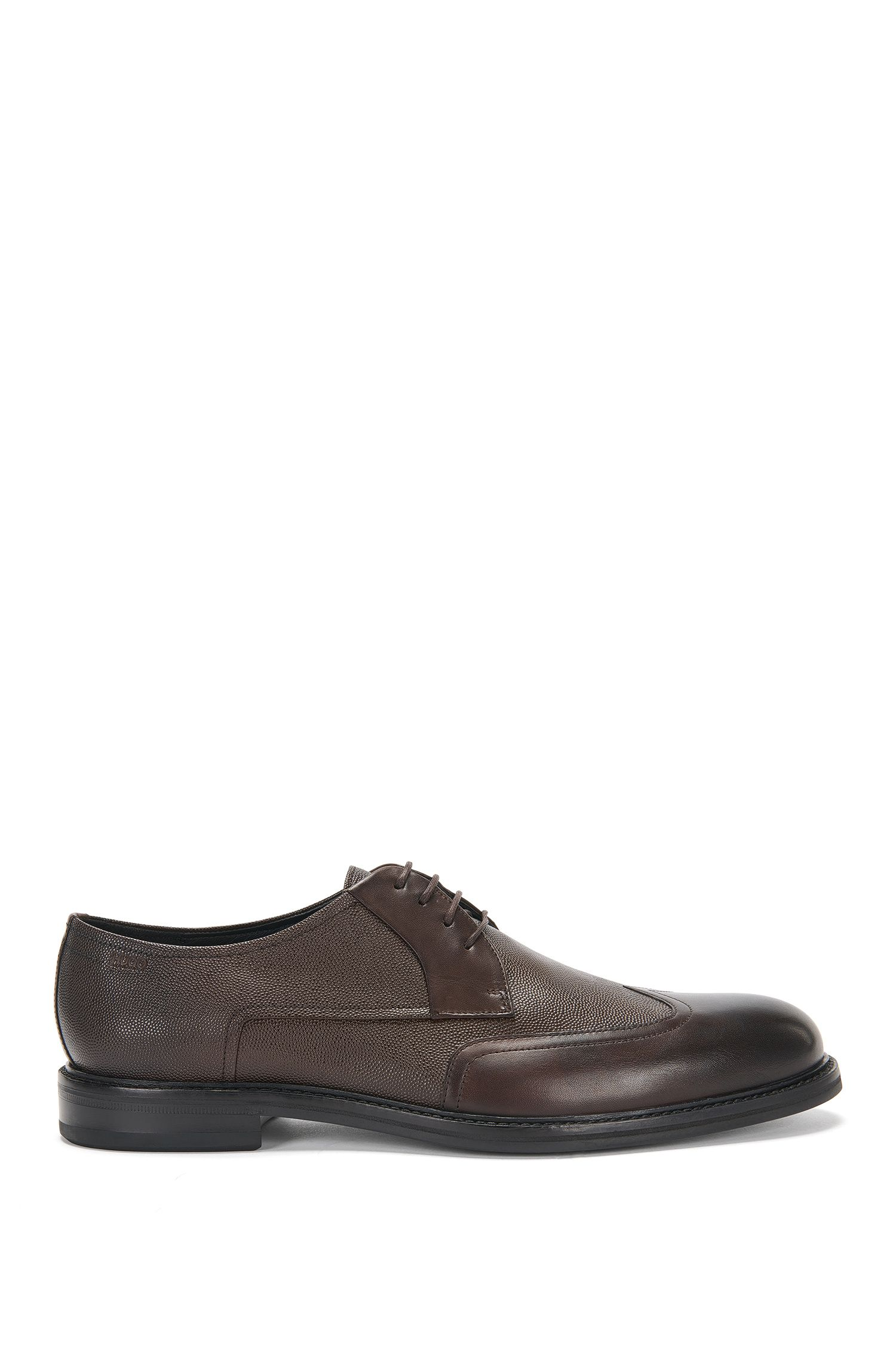 Leather lace-up shoes with a mixture of textures: 'Neoclass_Derb_buwt'