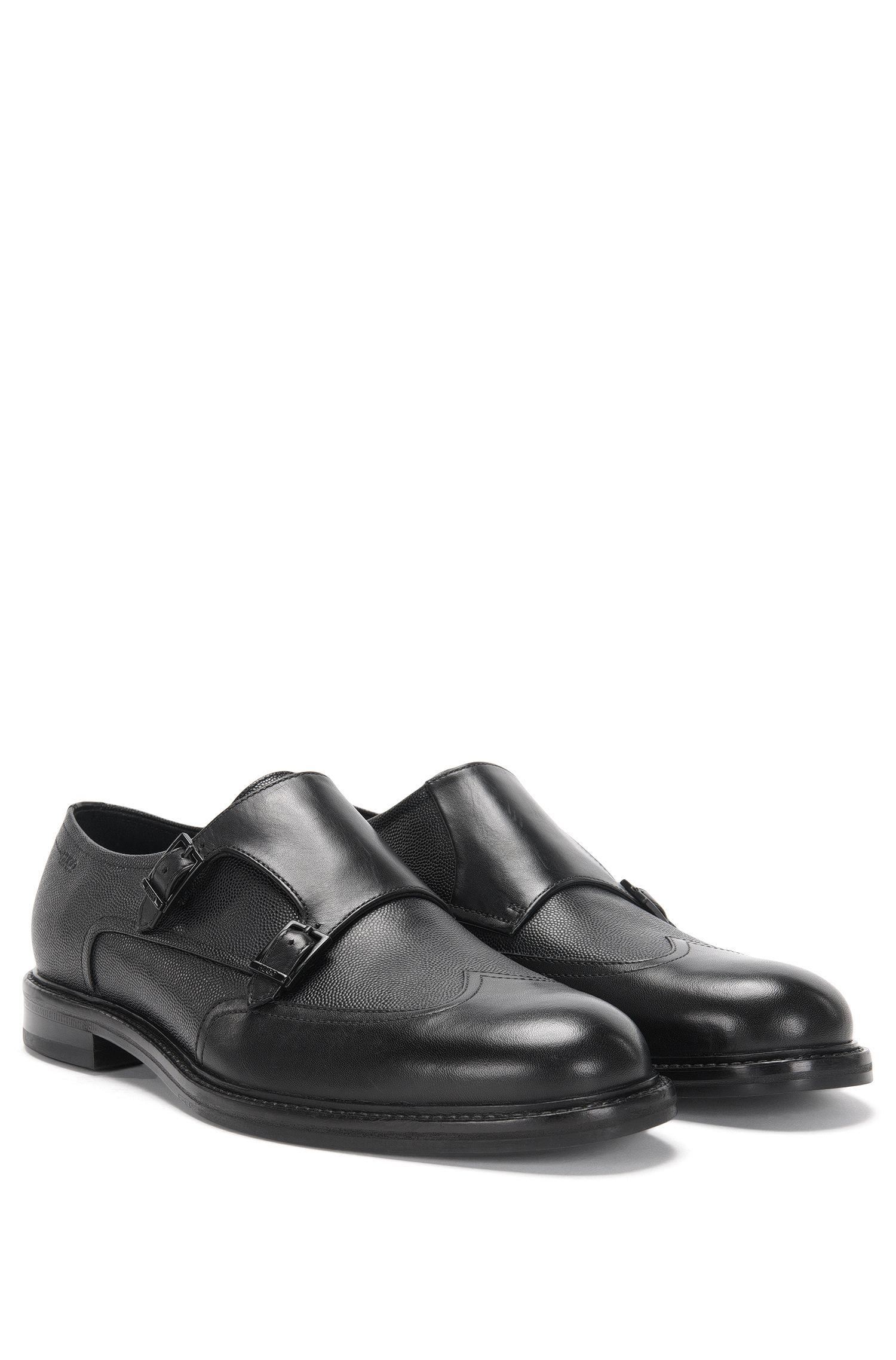 Chaussures à double boucle en cuir à structure mélangée: «Neoclass_Monk_buwt»