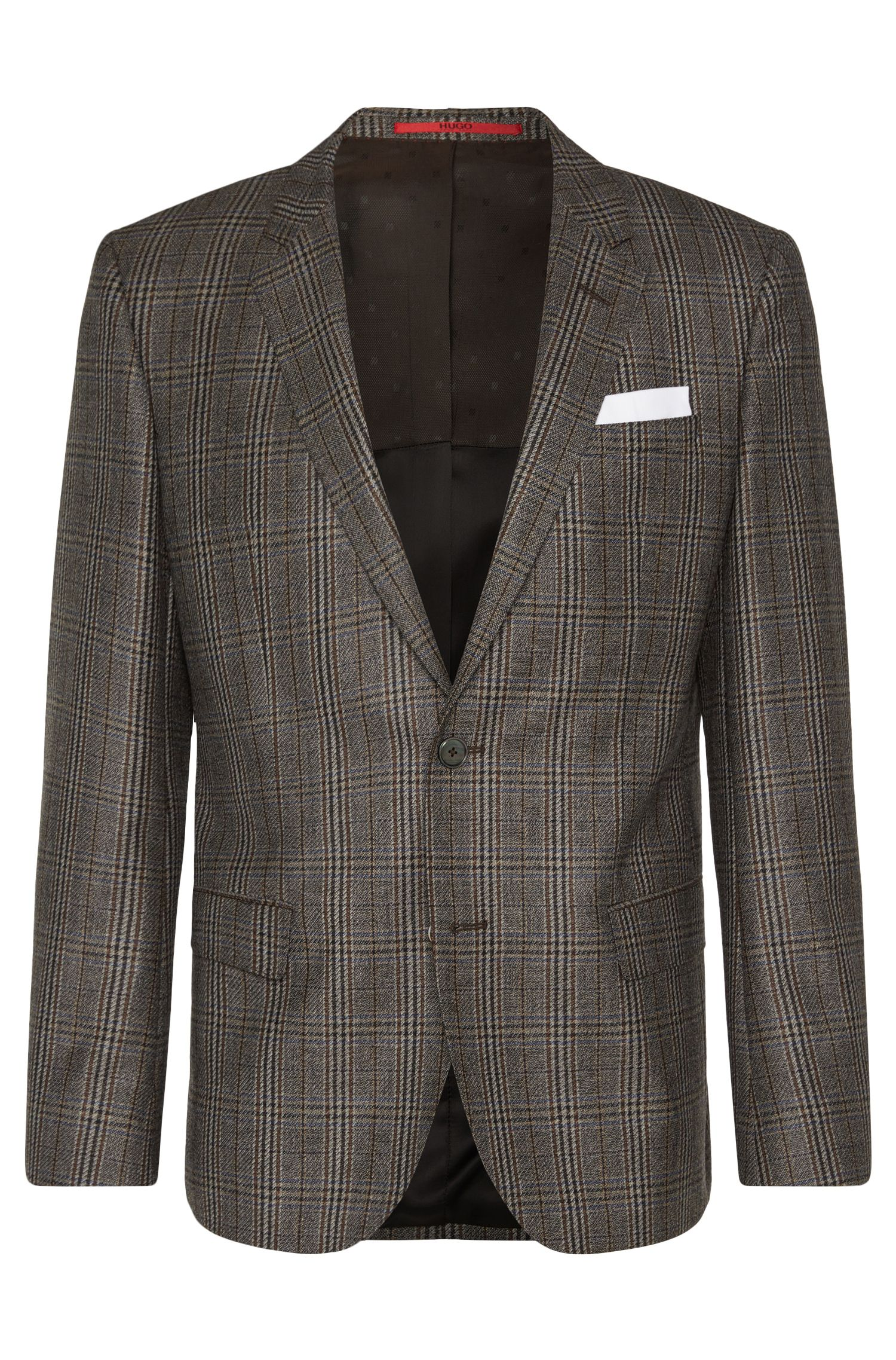 Checked slim-fit jacket in new wool with integrated pocket square: 'C-Hutsons1'