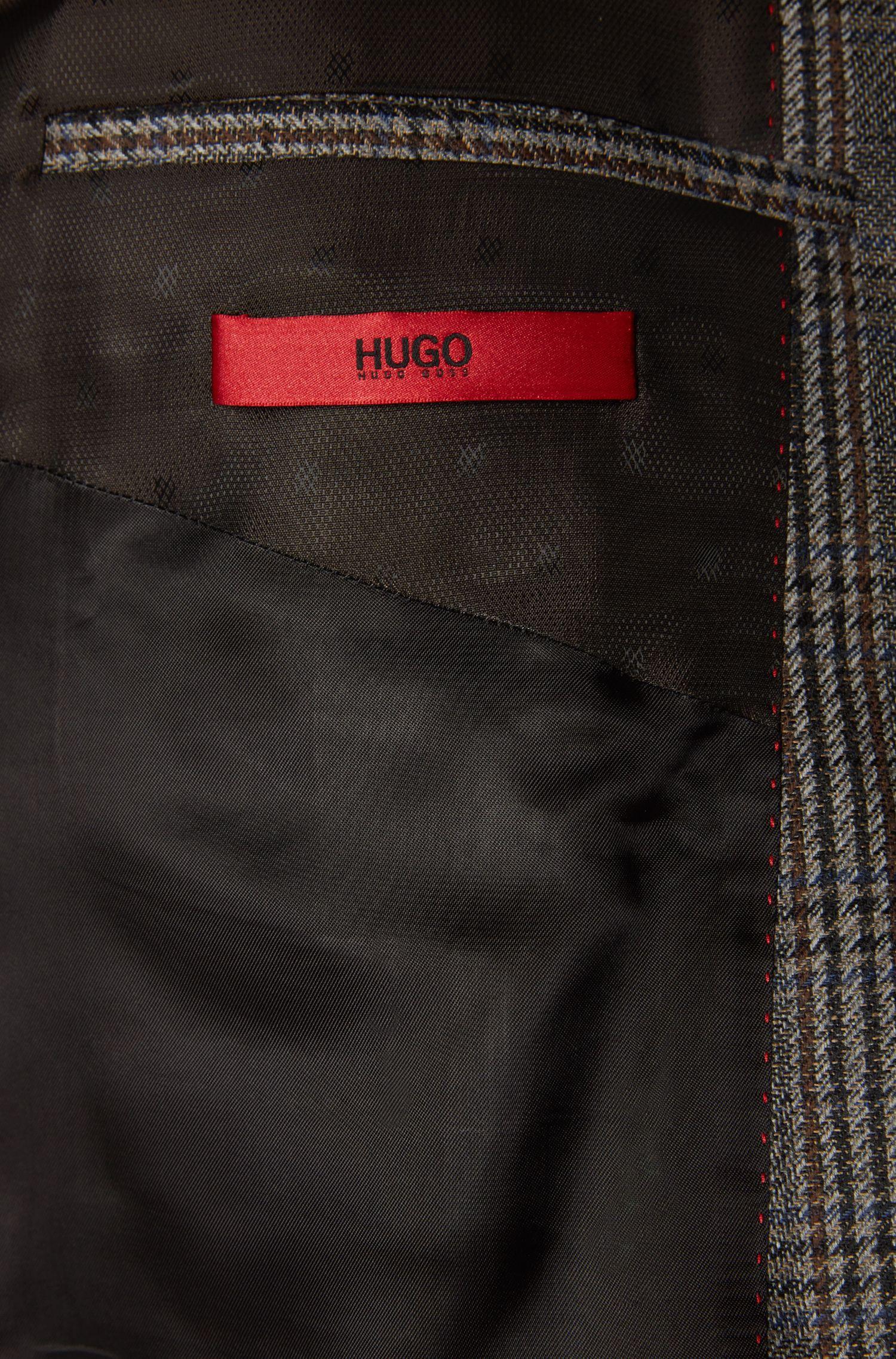 Kariertes Slim-Fit Sakko aus Schurwolle mit integriertem Einstecktuch: 'C-Hutsons1'