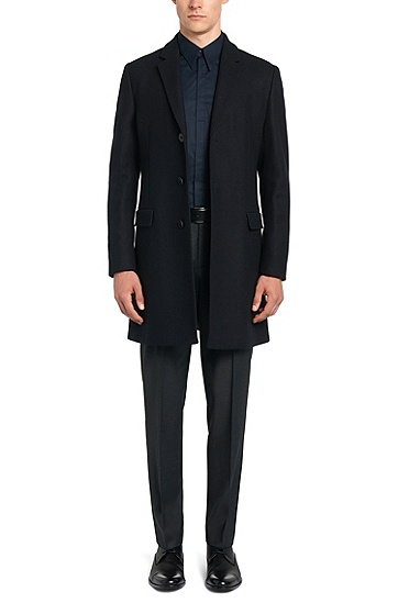 Regular-Fit Hose aus Stretch-Wolle: 'C-Shark1', Dunkelblau