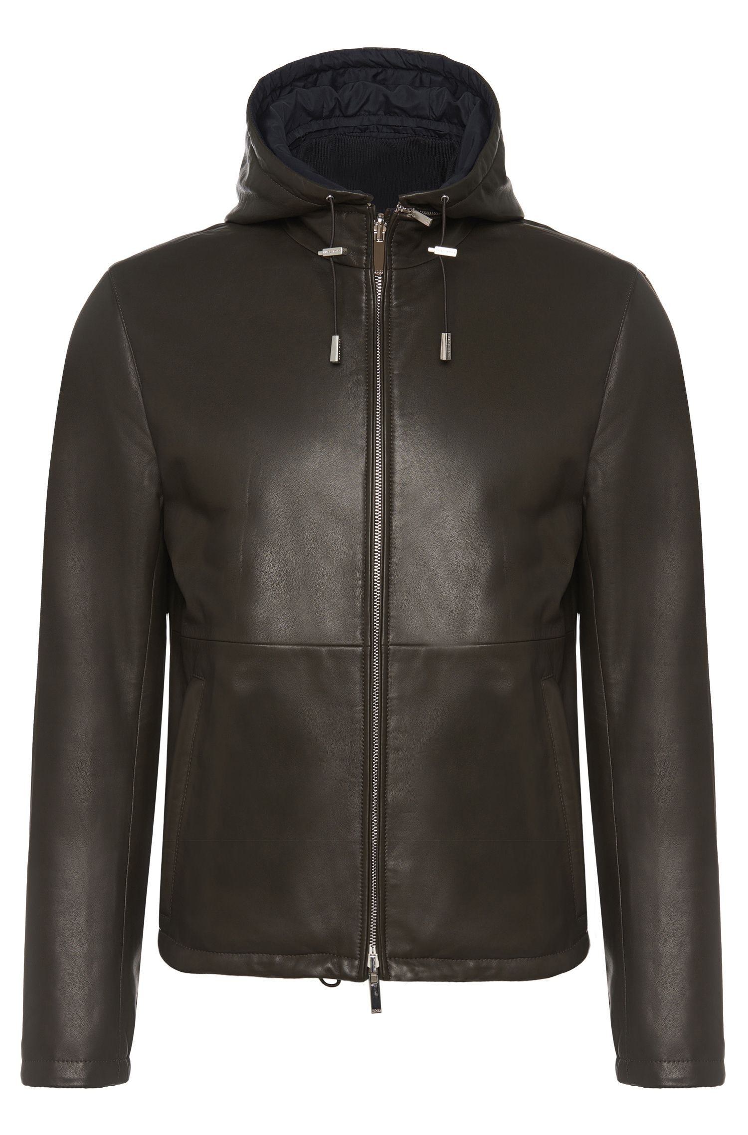 Regular fit leather jacket with detachable hood: 'Driffis'