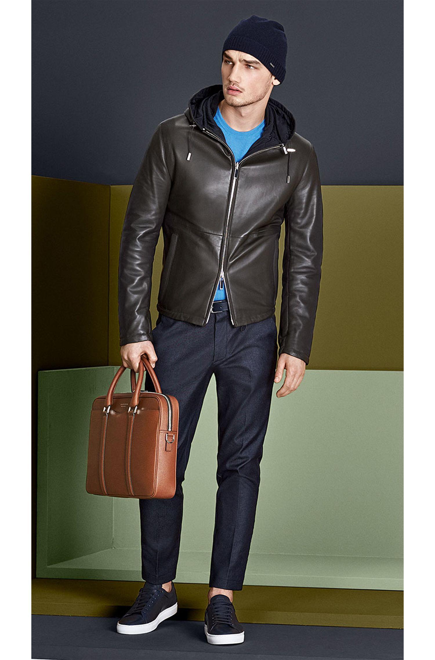 Blouson en cuir Regular Fit à capuche amovible: «Driffis»