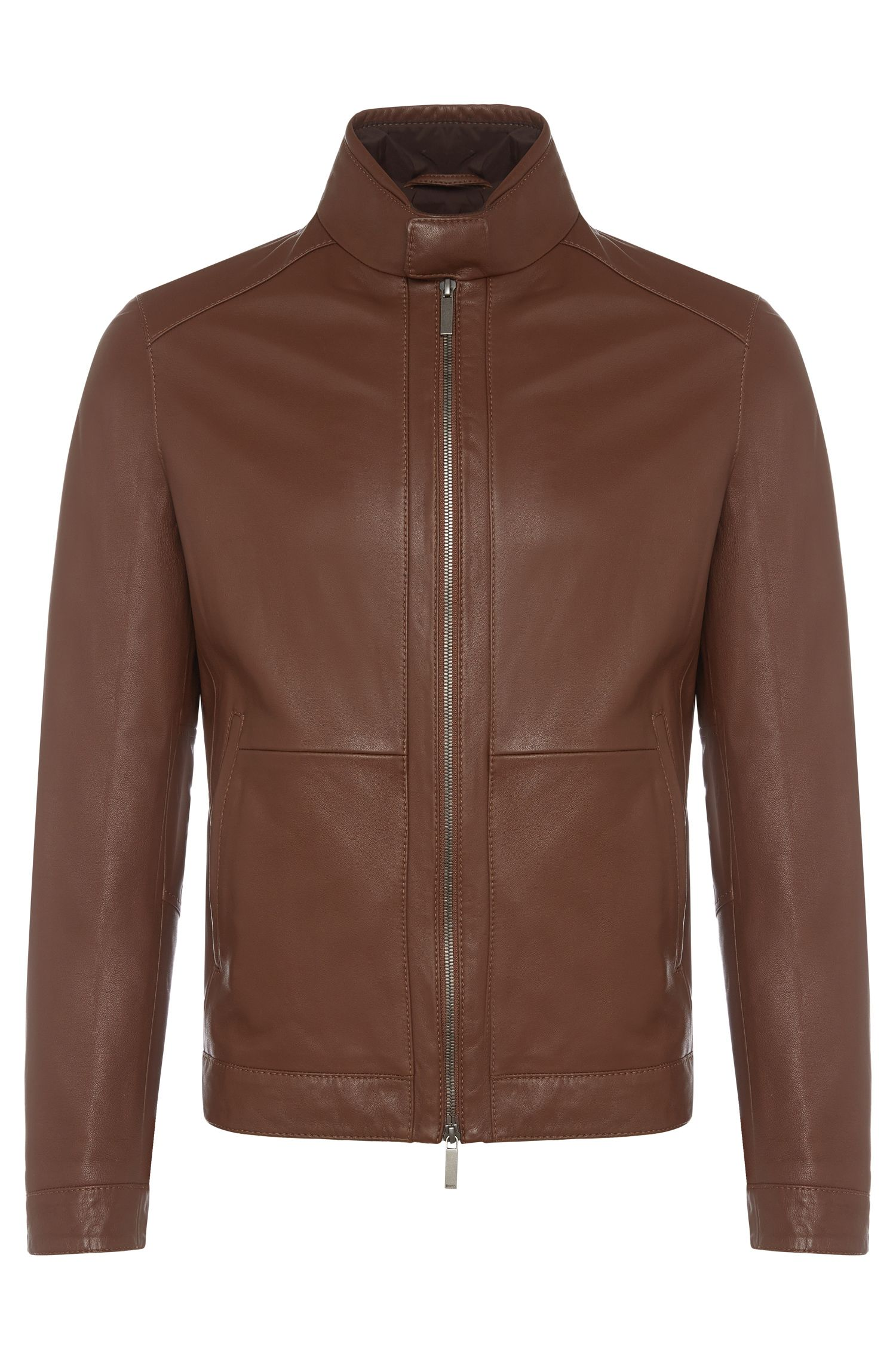 Regular-fit leather jacket with short band collar: 'Nokam'