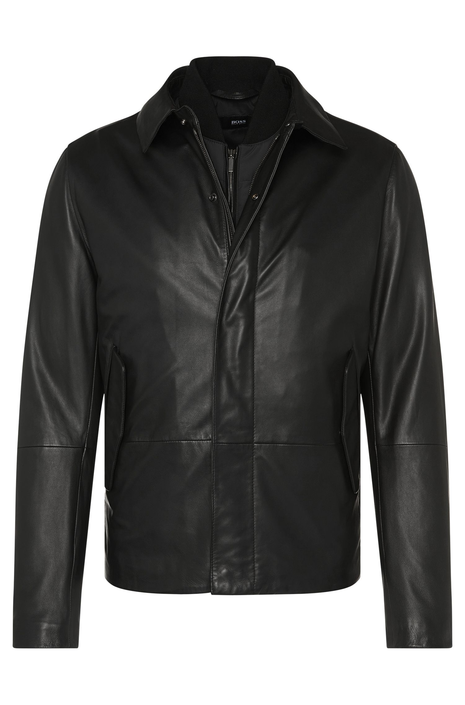 Regular-fit leather jacket with detachable quilted waistcoat: 'Melbin'