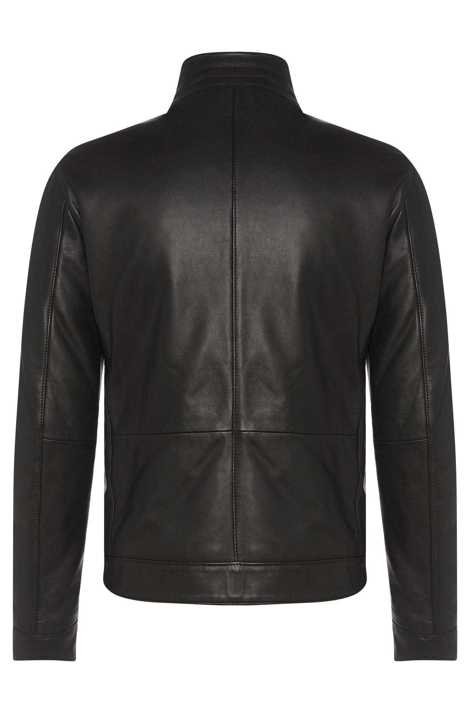 Leren jas met geperforeerde voorkant uit de Tailored-collectie: 'T-Nersiko'