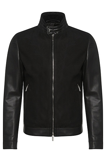 Tailored leather jacket with perforated front: 'T-Nersiko', Black