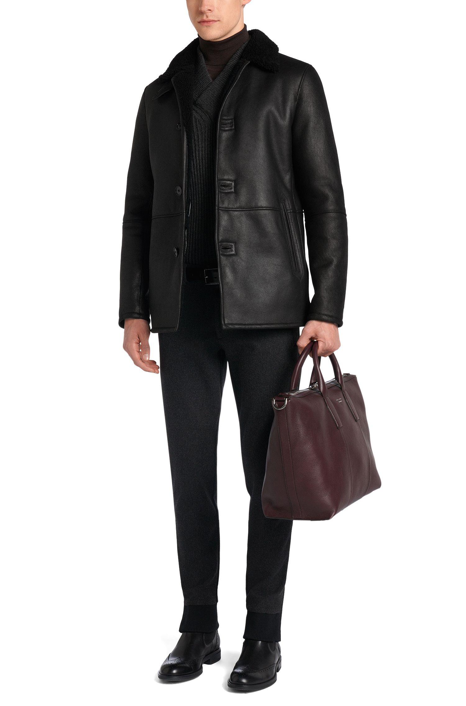 Regular-Fit Tailored Lederjacke mit Lammfell-Futter: 'T-Cubis'