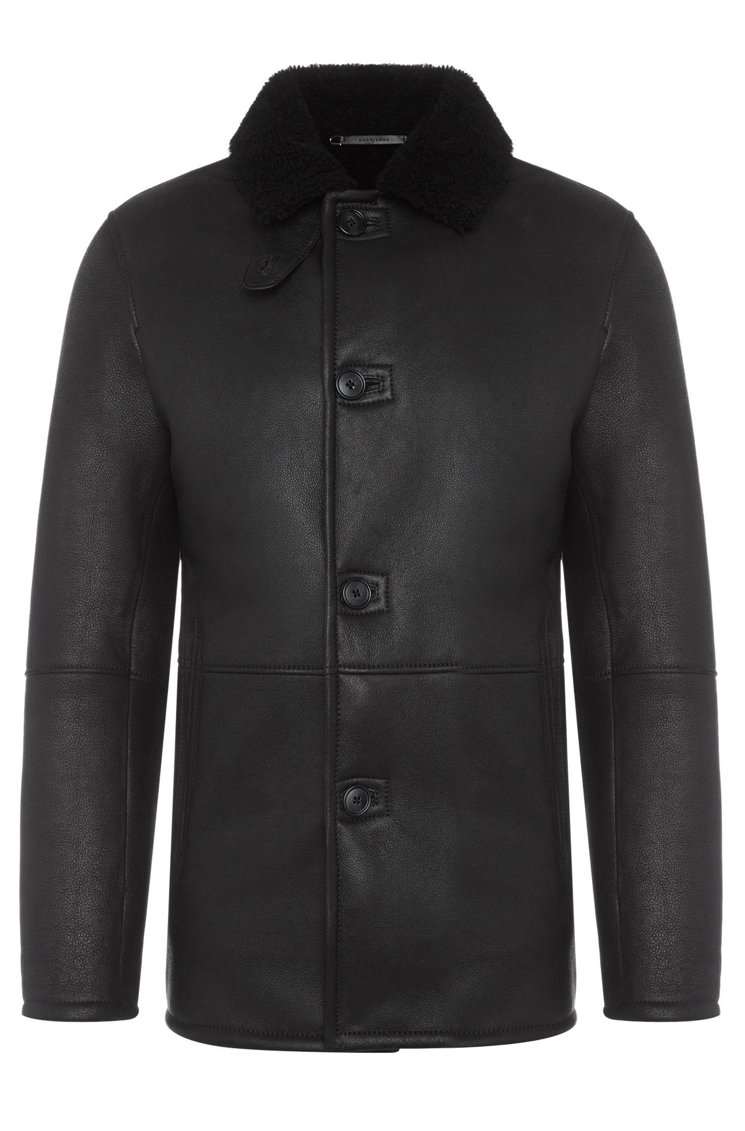 Regular-fit leren jas met lamsvelvoering uit de Tailored-collectie: 'T-Cubis'