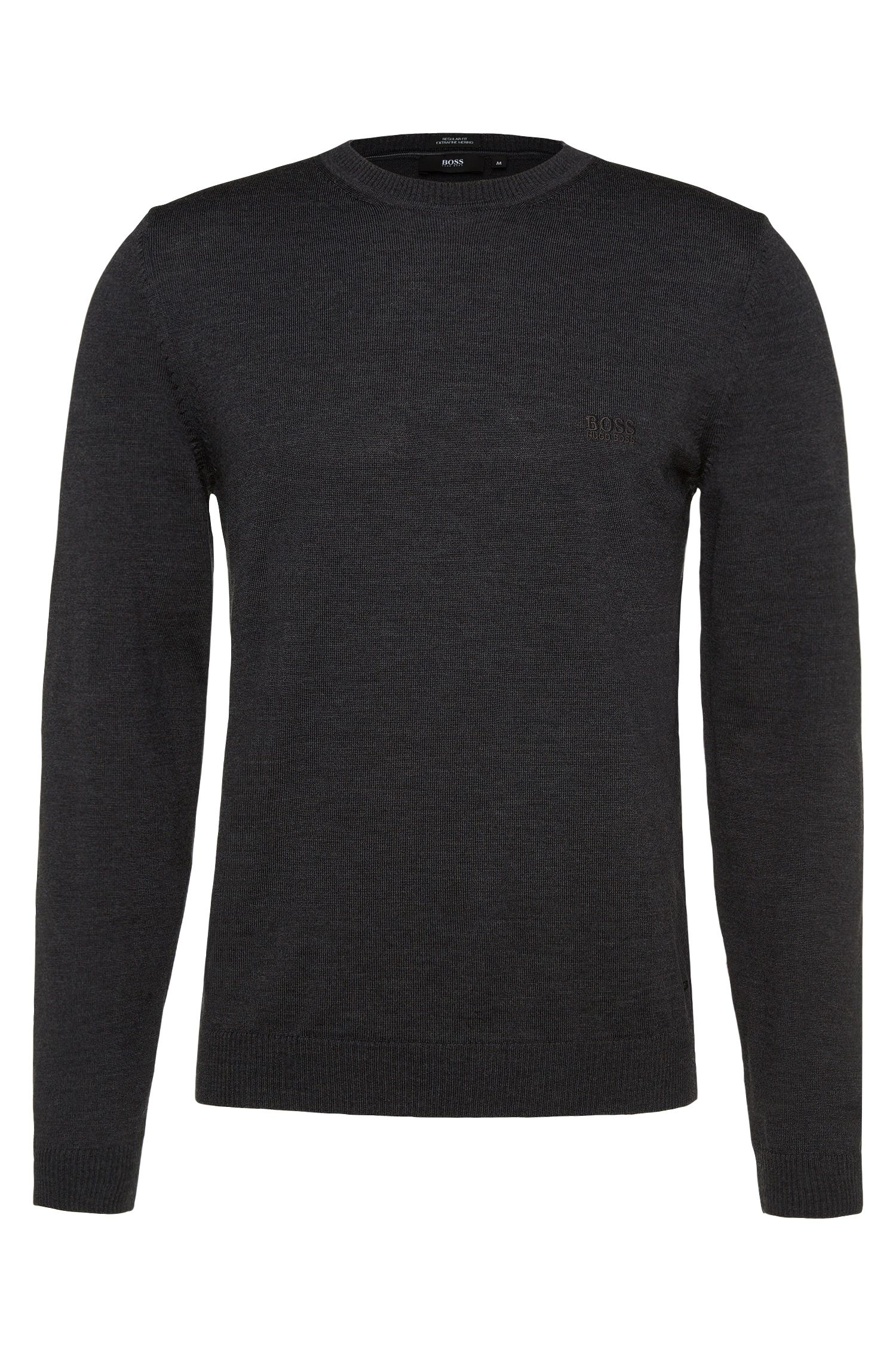 Regular-fit new-wool sweater in fine-knit quality: 'Bagritte-B'