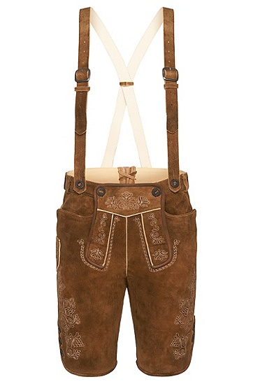 Wiesn & Wasn Lederhose mit traditioneller Stickerei: 'Nevik5', Beige