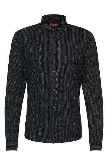 Slim-Fit Hemd aus Baumwolle mit Streifen-Muster: 'Ero3', Schwarz