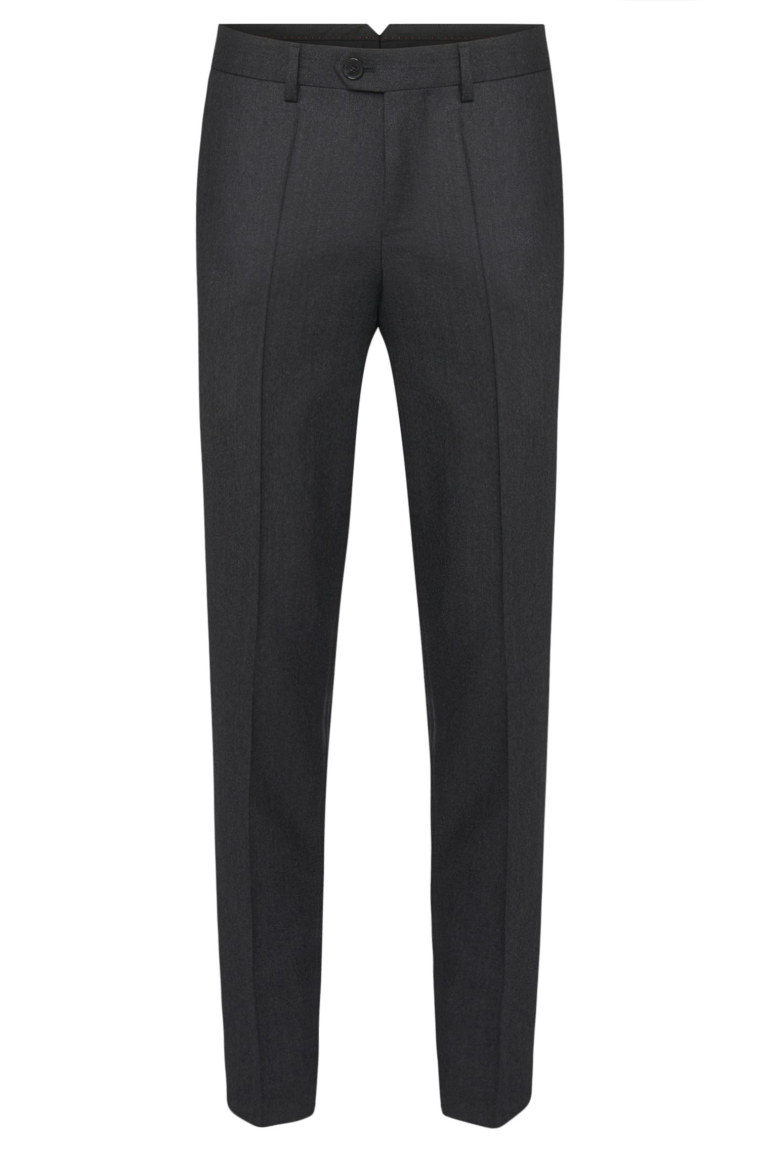 Finely mottled tapered-fit trousers in pure new wool: 'Hening'