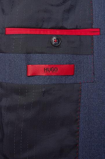 Slim-Fit Anzug aus Schurwolle in Denim-Optik: 'Adan1/Hallins', Blau