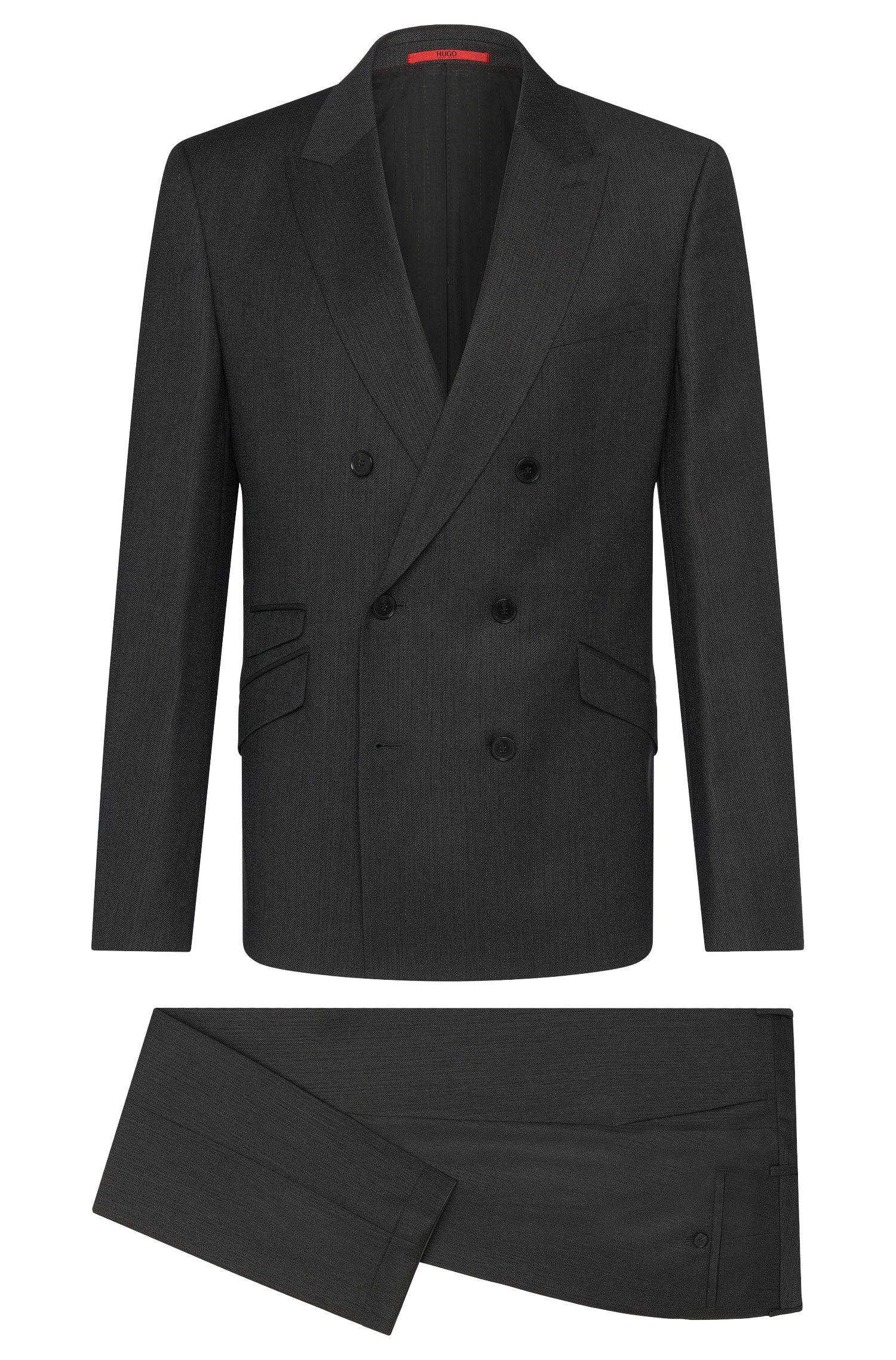 Slim-Fit Anzug aus Schurwolle mit Nadelstreifen: 'Allin/Harlith'