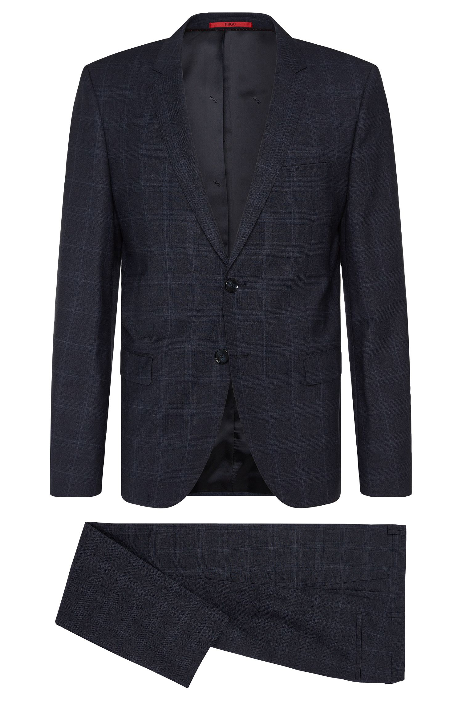 Checked slim-fit suit in stretch new wool: 'Arti/Heilon'