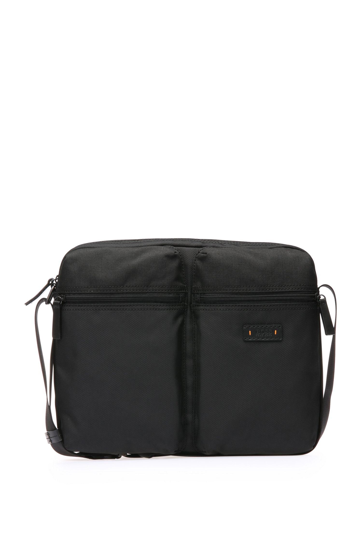 Messenger bag in textured nylon: 'Saturn_Mess zip'