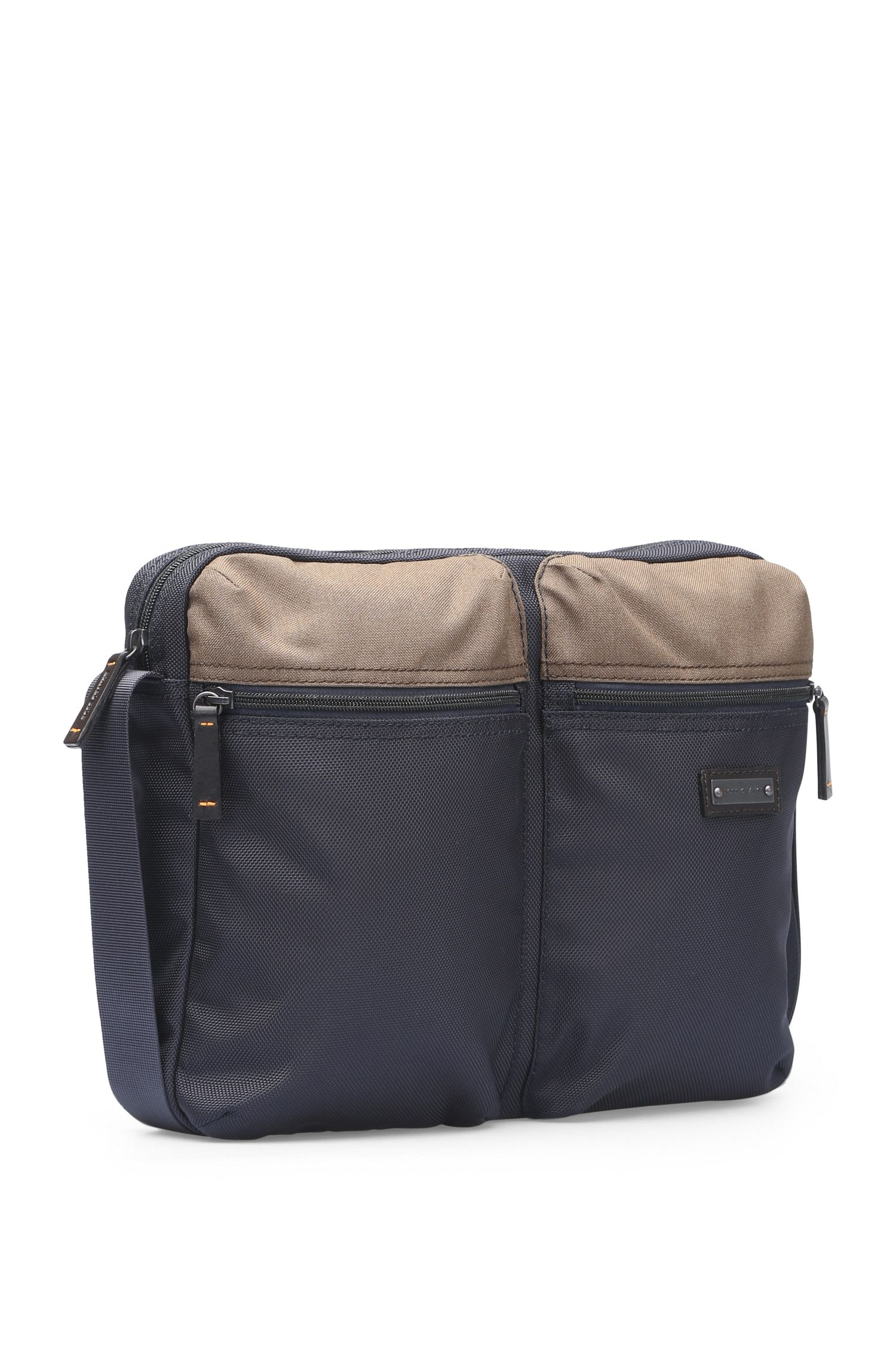 Messenger bag in textured nylon: 'Saturn_Mess zip'