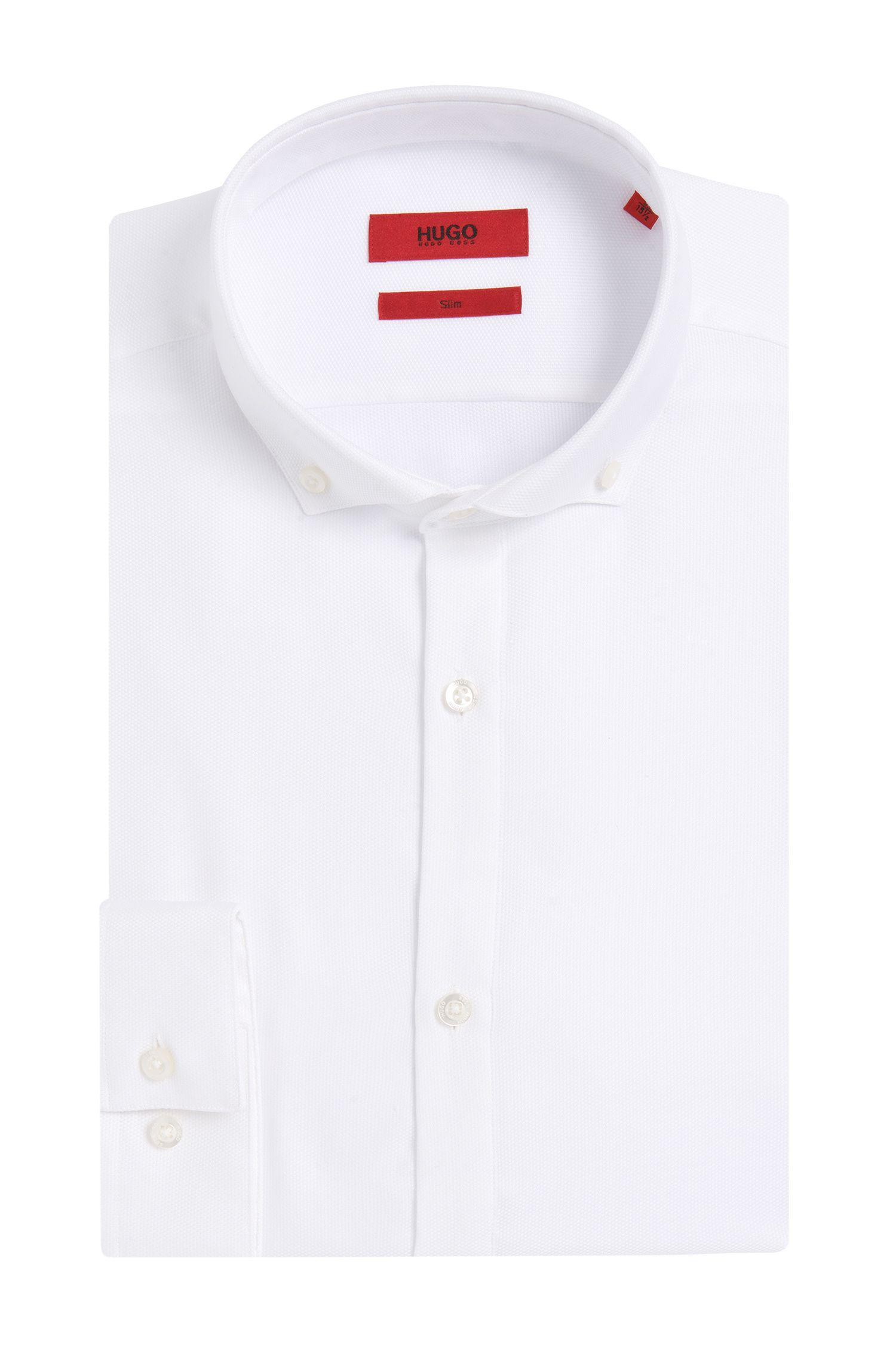 Slim-Fit Hemd aus bügelleichter Baumwolle mit feiner Struktur: 'Enes'