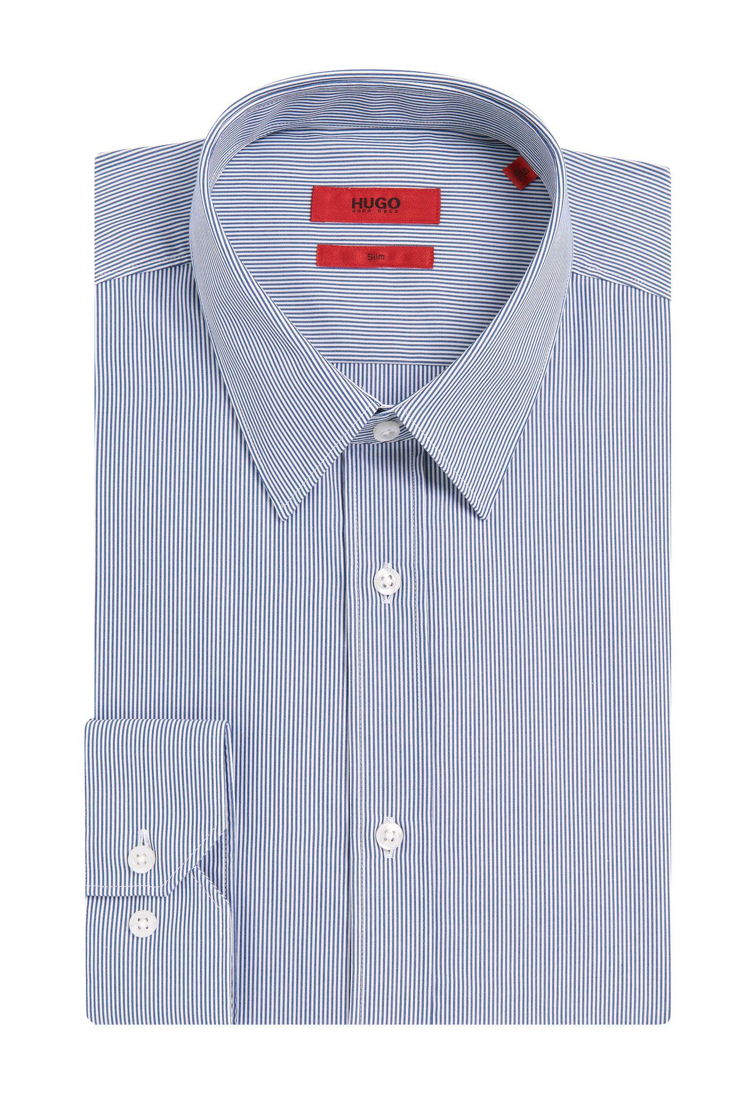Gestreiftes Slim-Fit Hemd aus bügelleichter Baumwolle: 'Elisha01'