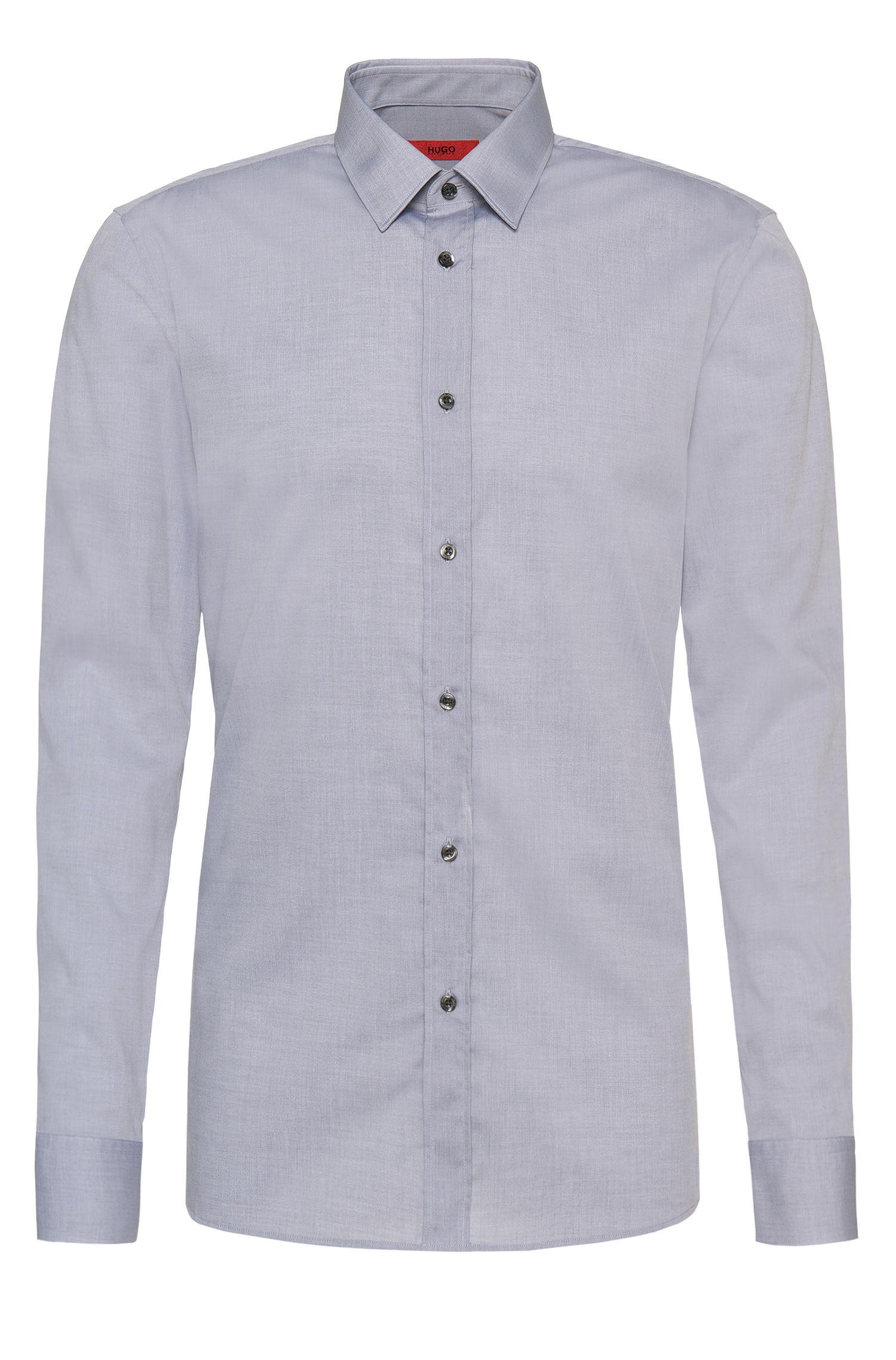 Effen slim-fit overhemd van katoen: 'Elisha01'