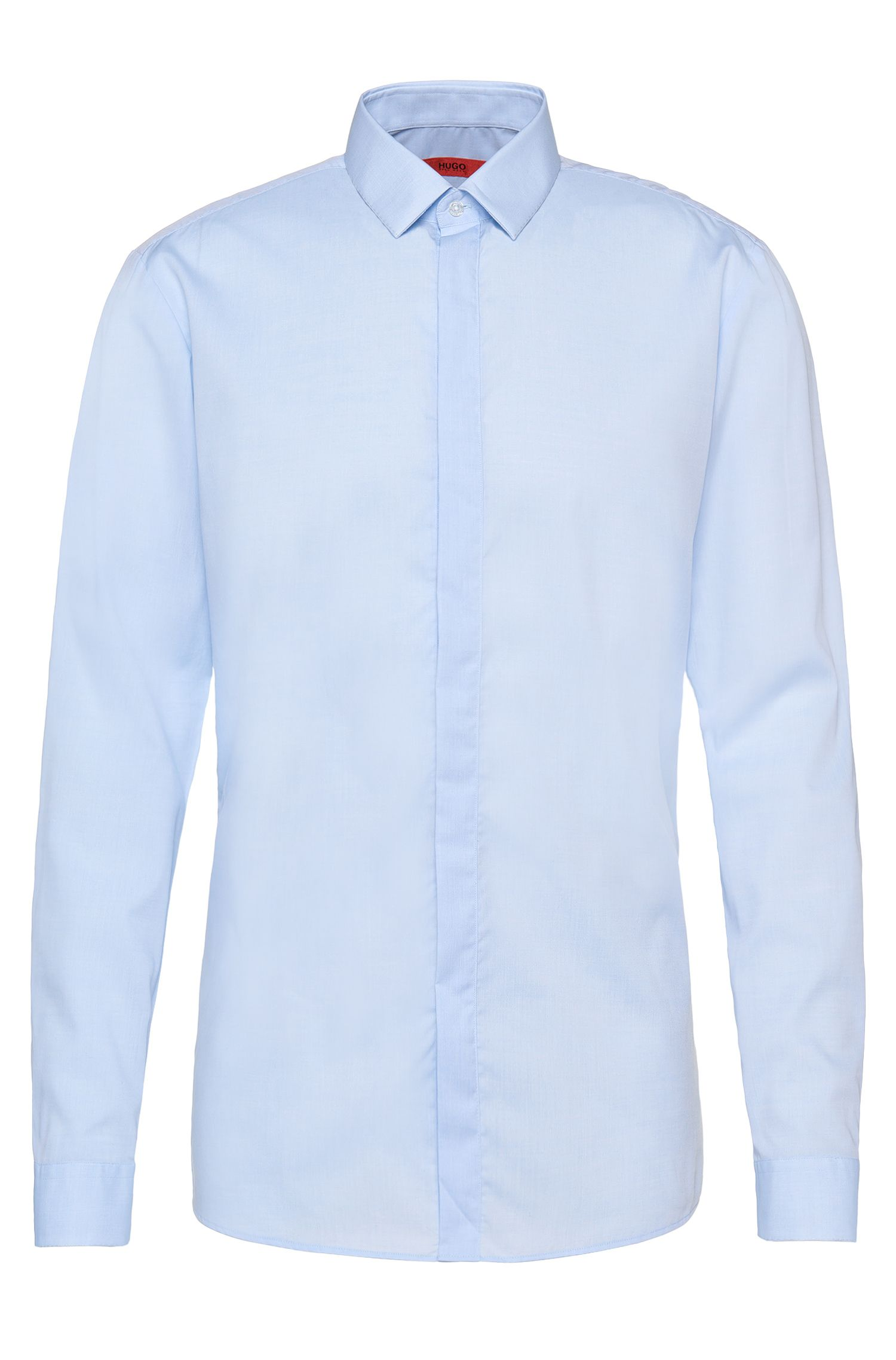 Slim-fit shirt in easy-iron cotton with concealed button placket: 'Enns'