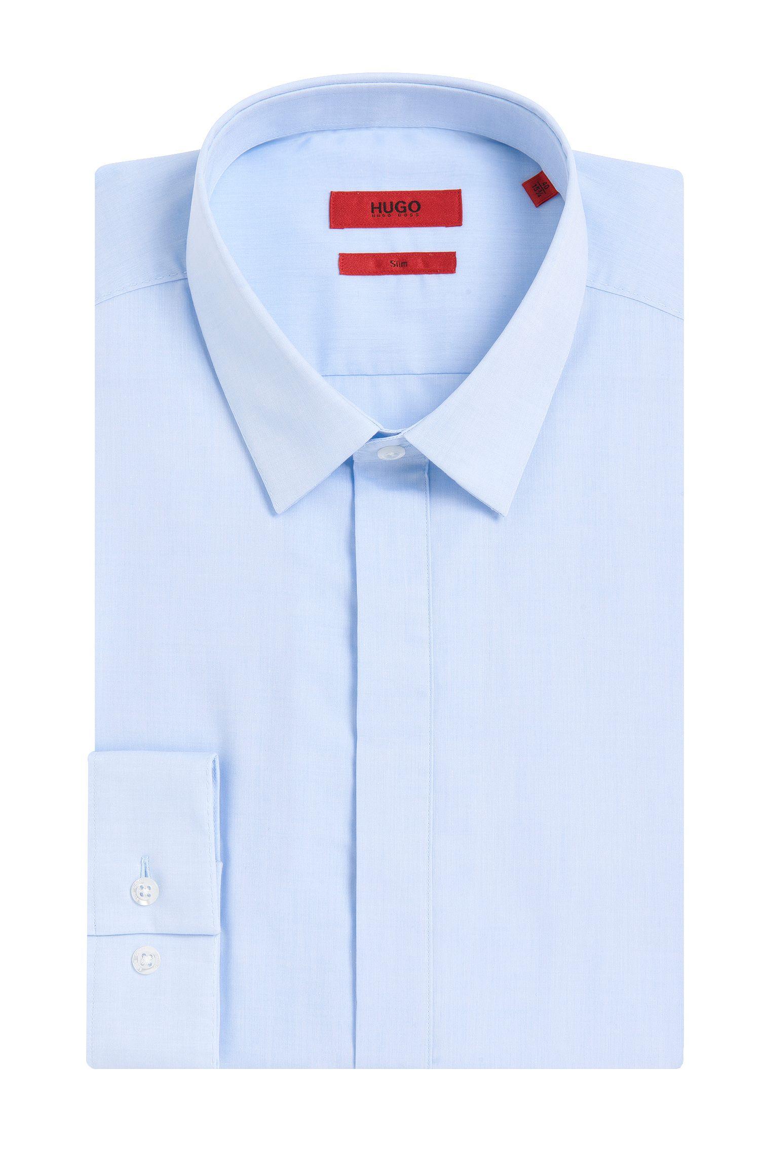 Chemise Slim Fit en coton facile à repasser avec patte de boutonnage invisible: «Enns»