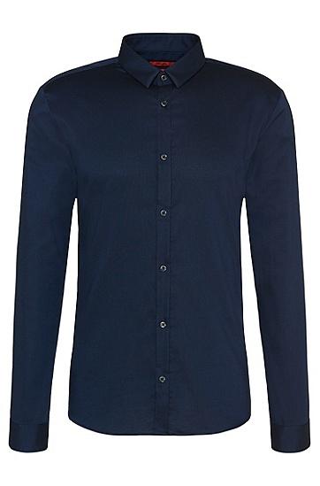 Slim-Fit-Hemd aus Baumwolle mit schmalem Kentkragen: 'Ero3', Dunkelblau