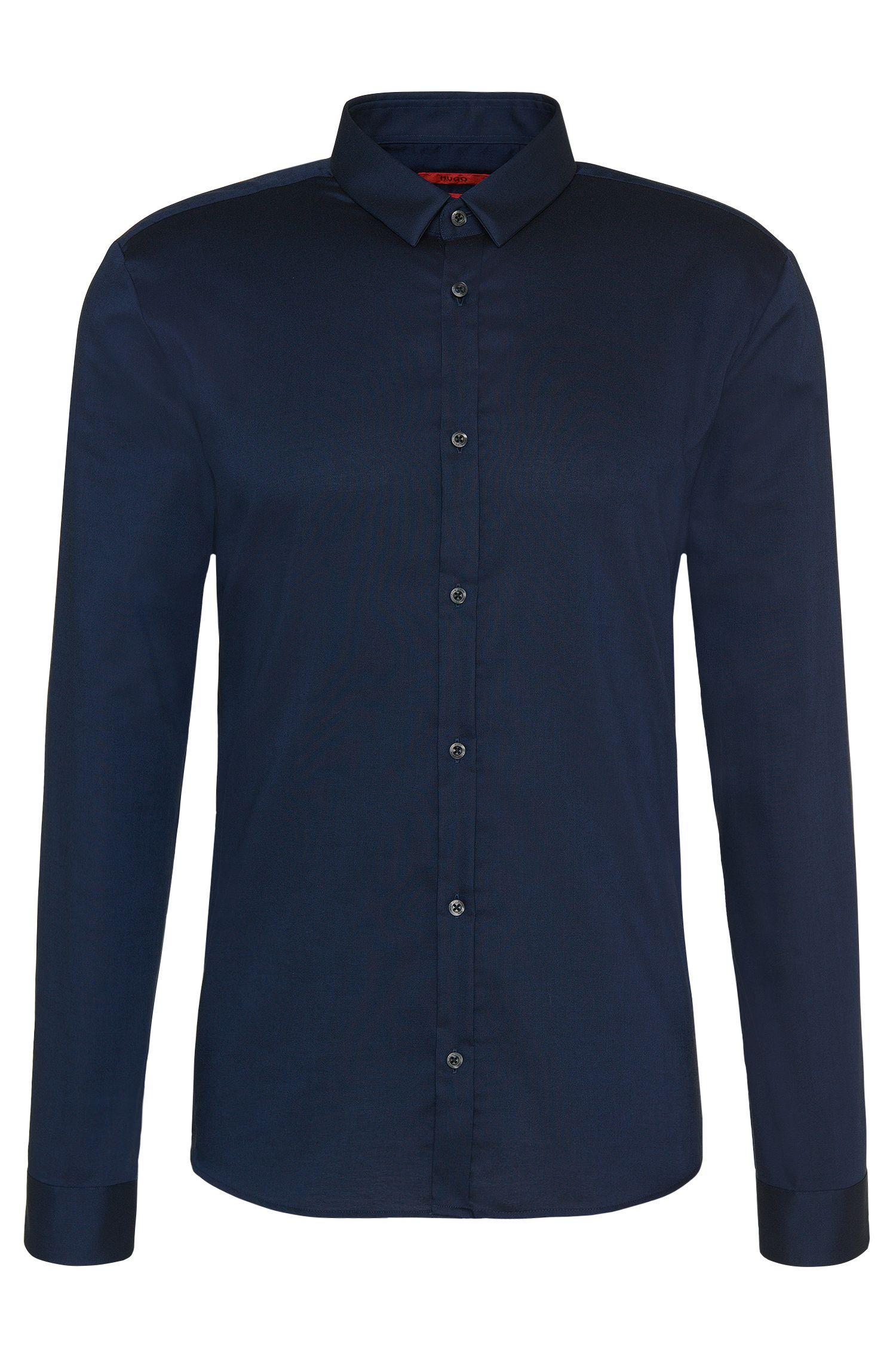 Slim-fit cotton shirt with a narrow Kent collar: 'Ero3'