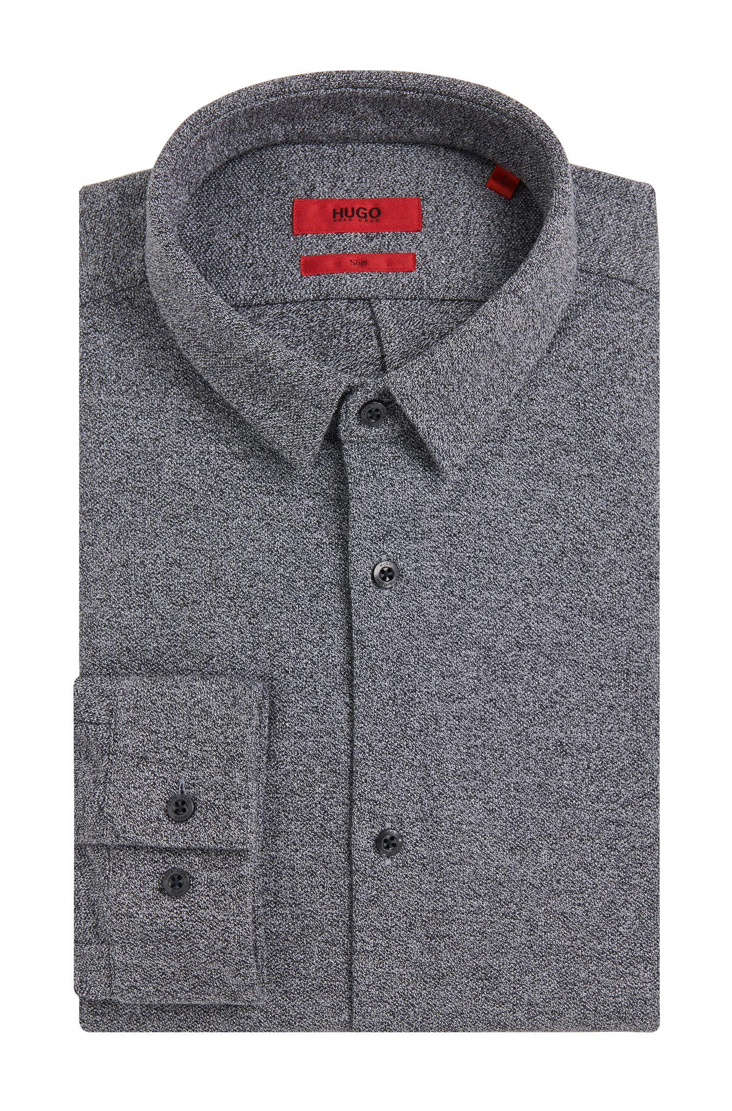 Meliertes Slim-Fit Hemd aus Baumwolle: 'Ero3'