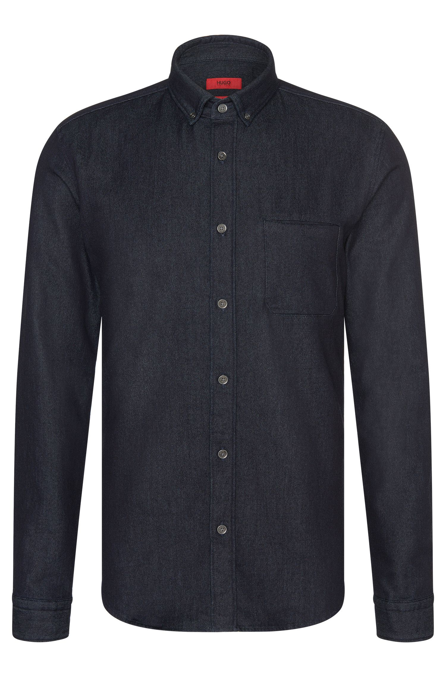 Slim-fit shirt in a stretch cotton blend that looks like denim: 'Enico'