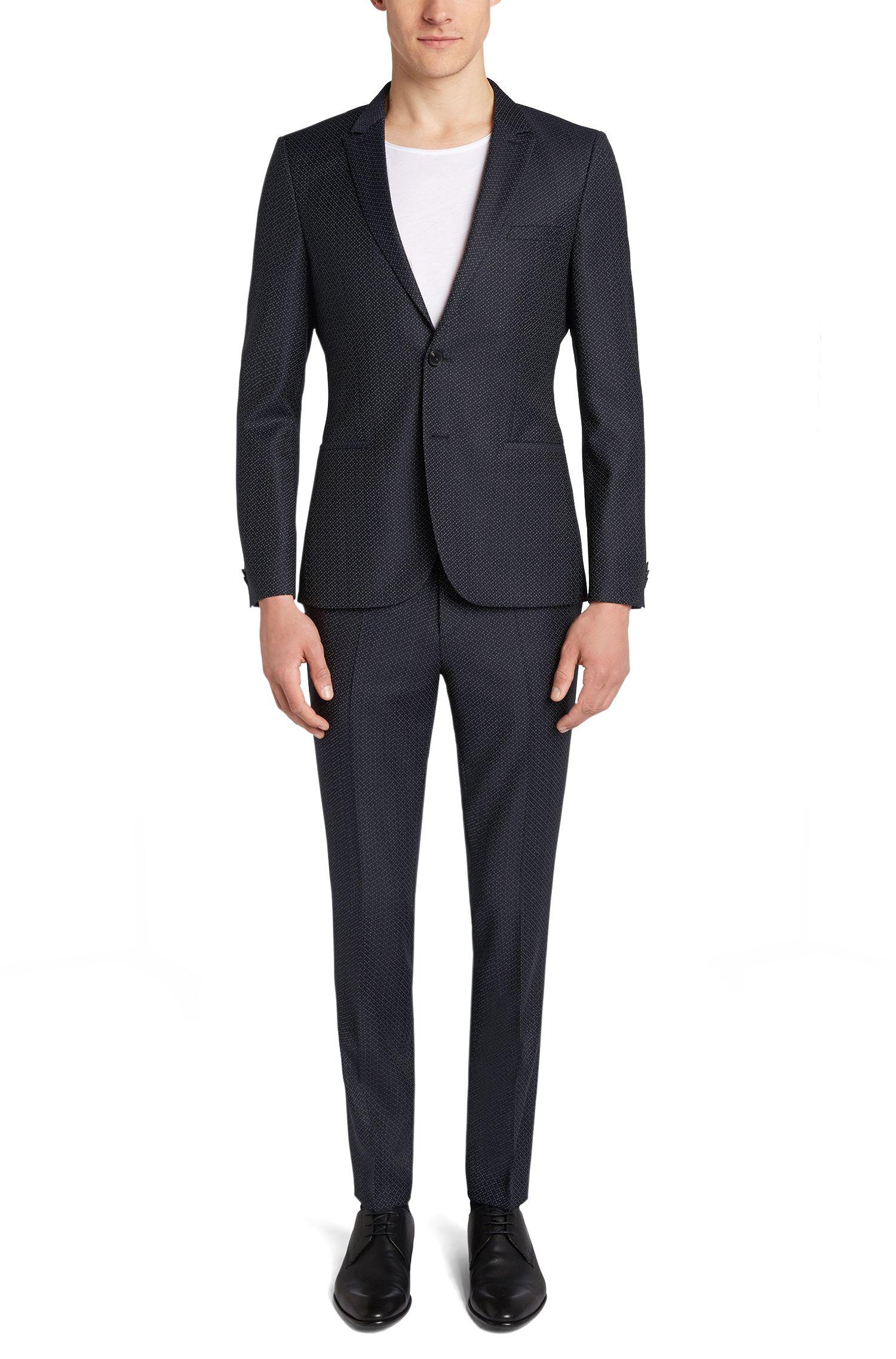 Fein gepunkteter Slim-Fit Anzug aus Schurwolle: 'Adan1/Hallins'